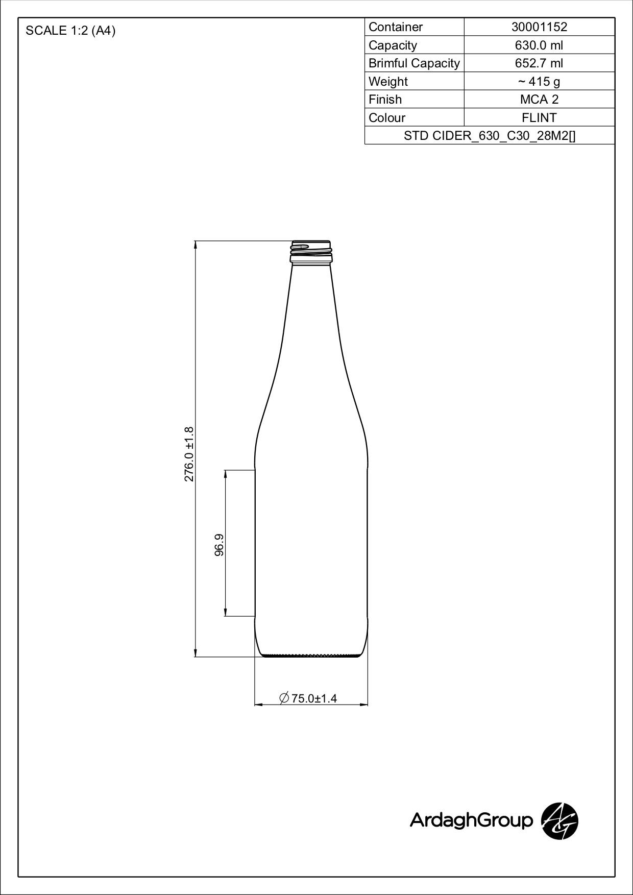 630ml flint glass oneway cider bottle
