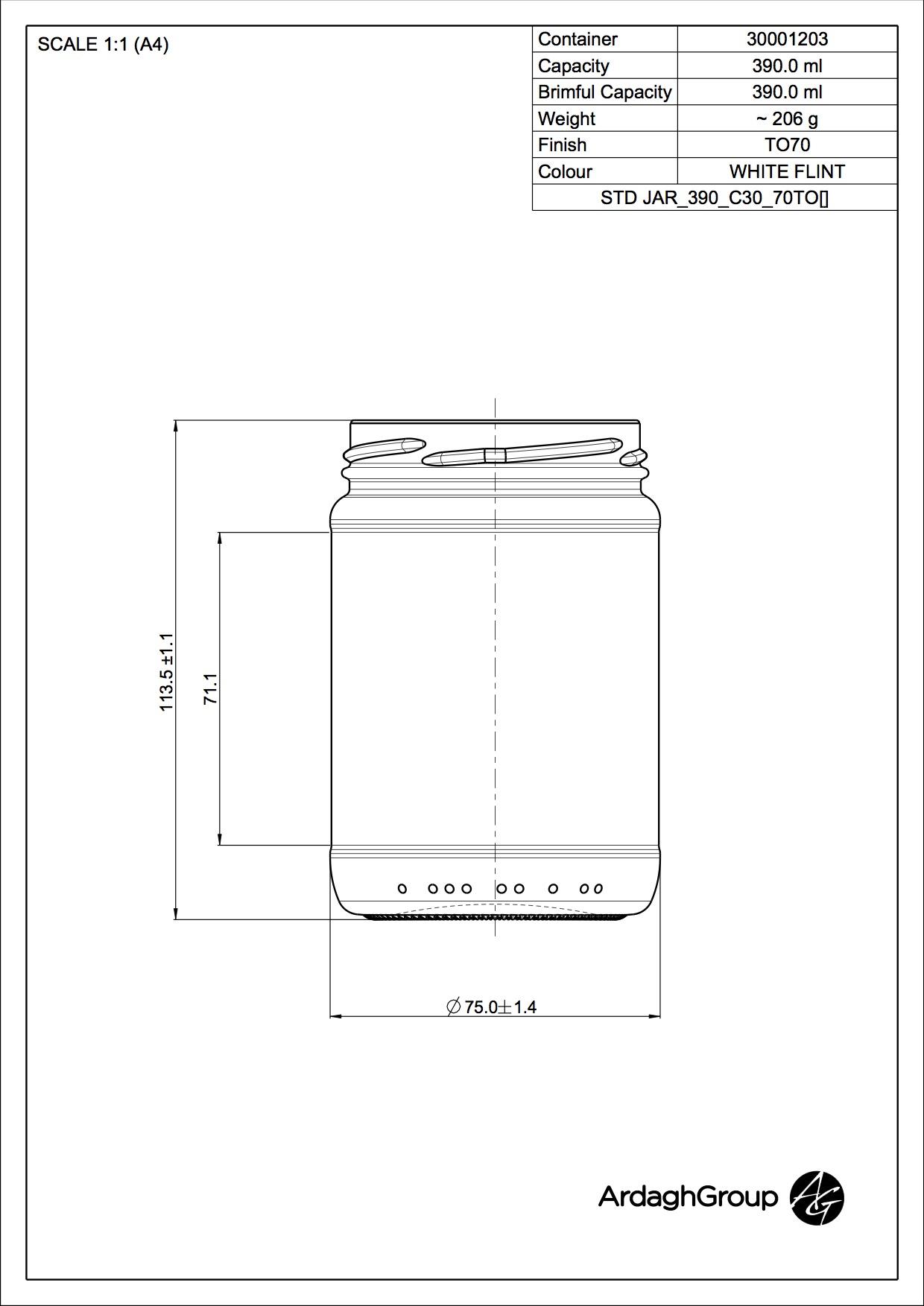STD FOOD JAR 390 C30 70TO