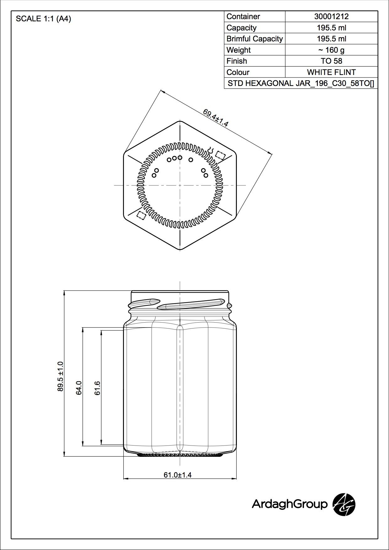 195ml flint glass Hexagonal food jar