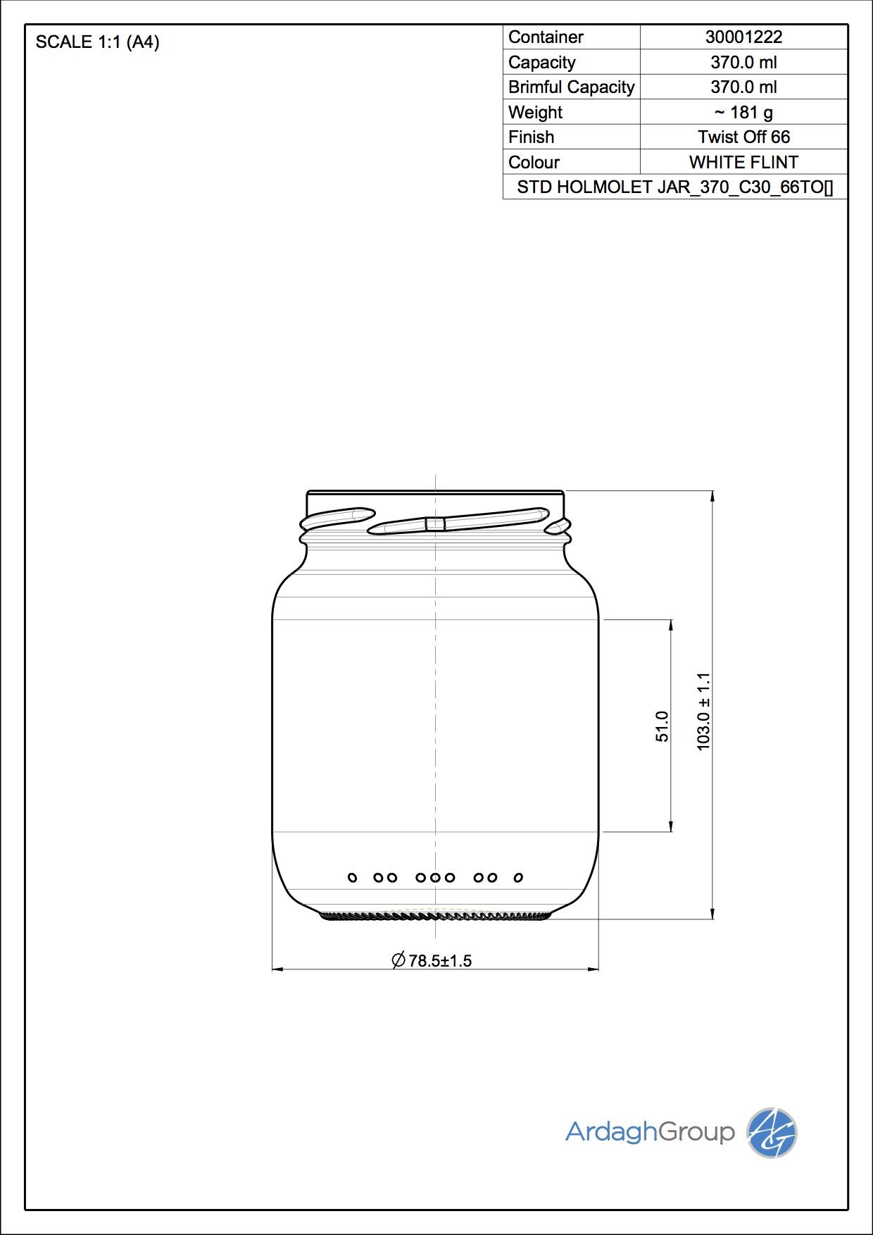 370ml flint glass Holmolet jar