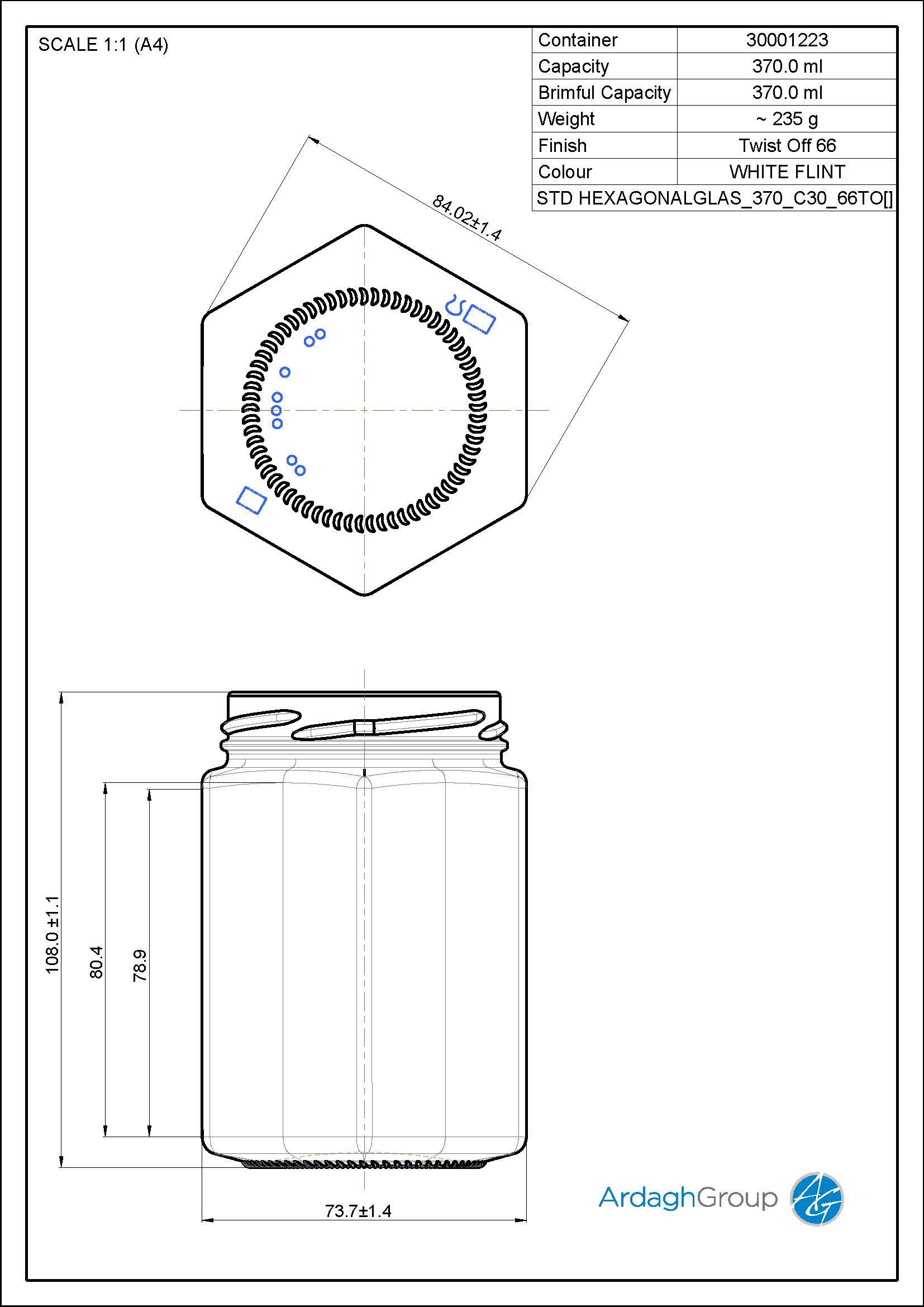 370ml flint glass Hexagonal food jar