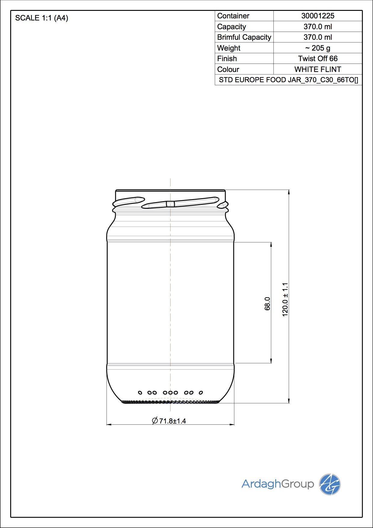 370ml flint glass Europe food jar