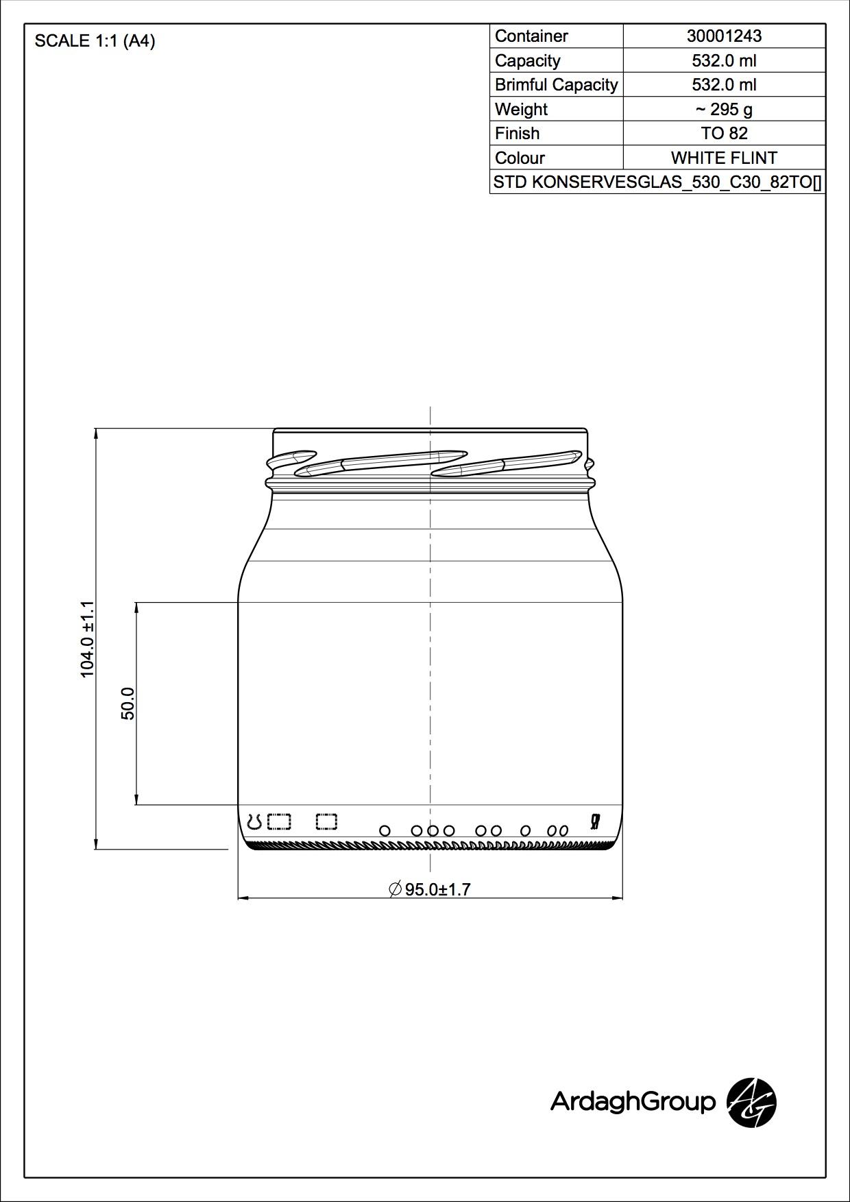 530ml flint glass food jar