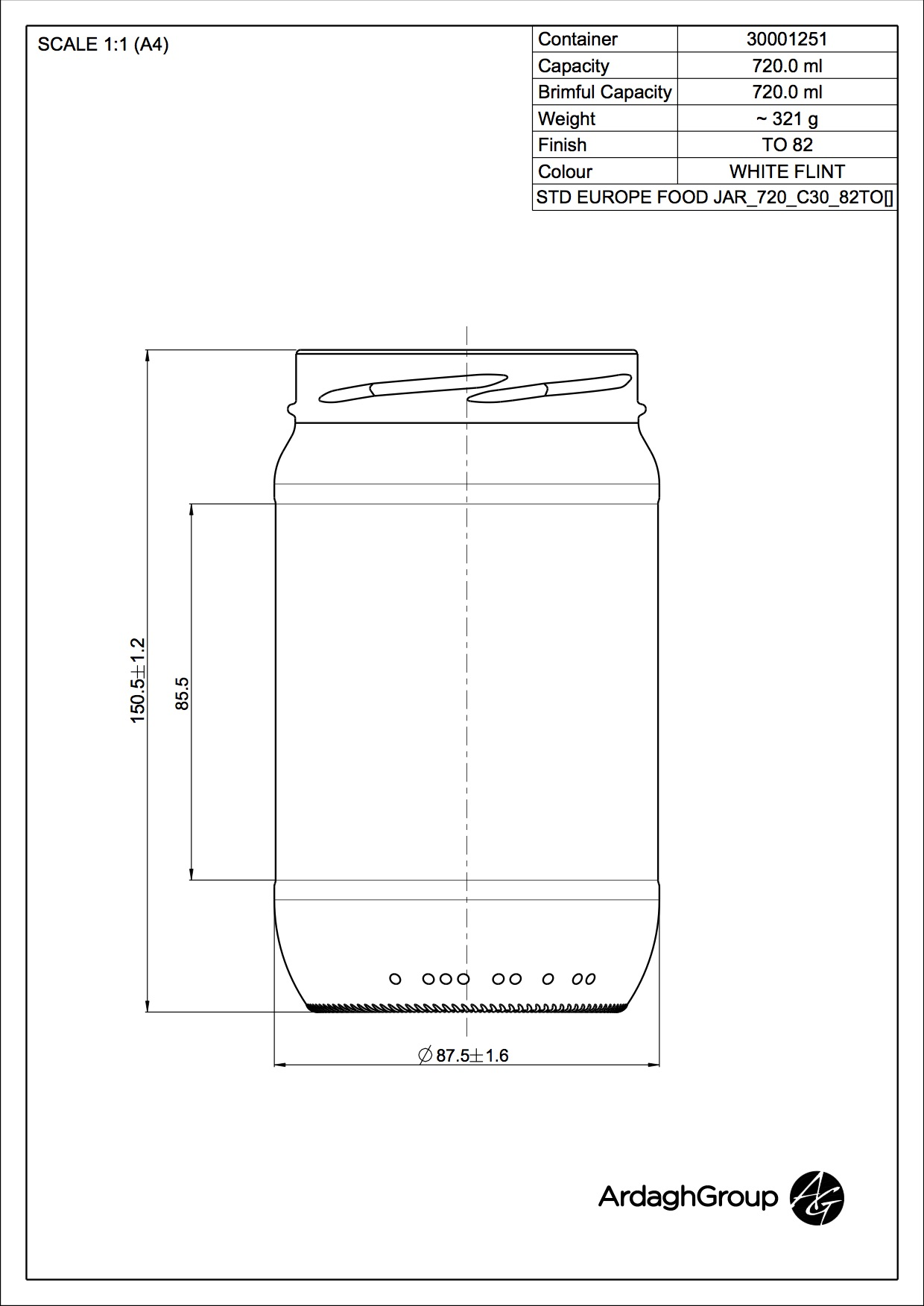 STD EUROPE FOOD JAR 720 C30 82TO