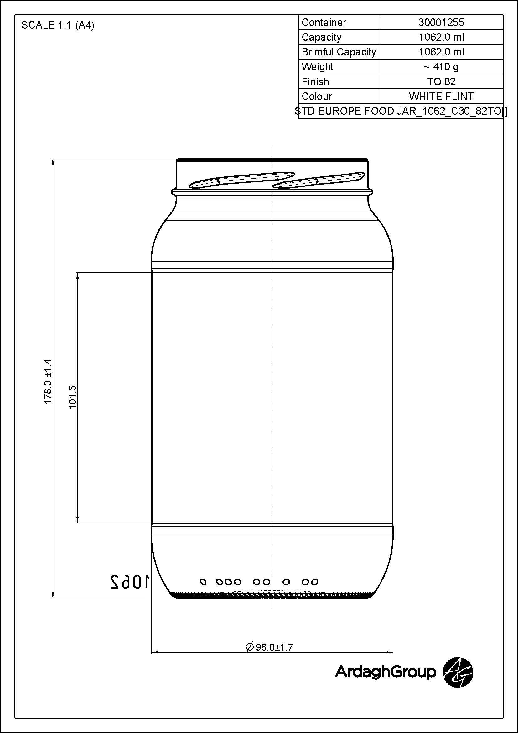 1062ml flint glass Europe food jar