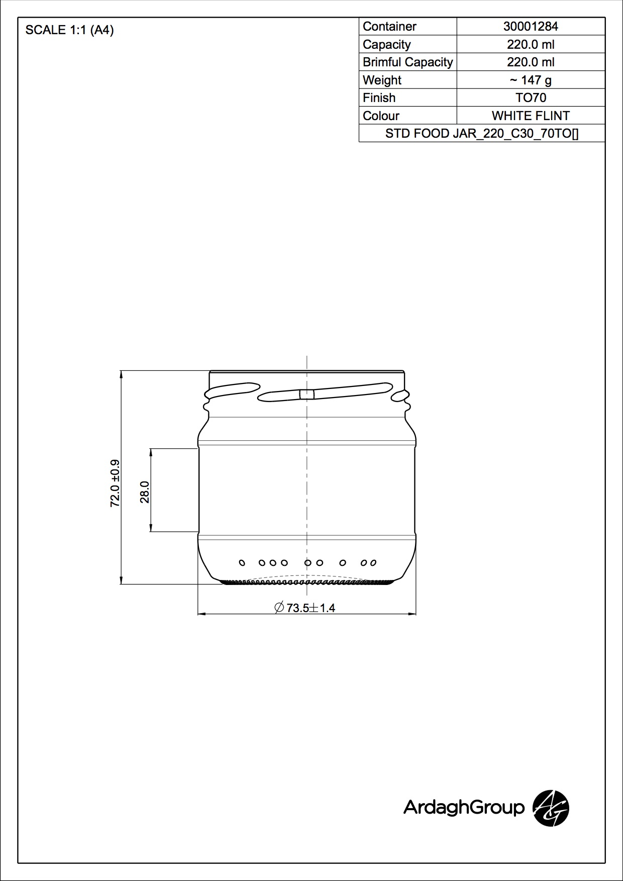 STD FOOD JAR 220 C30 70TO