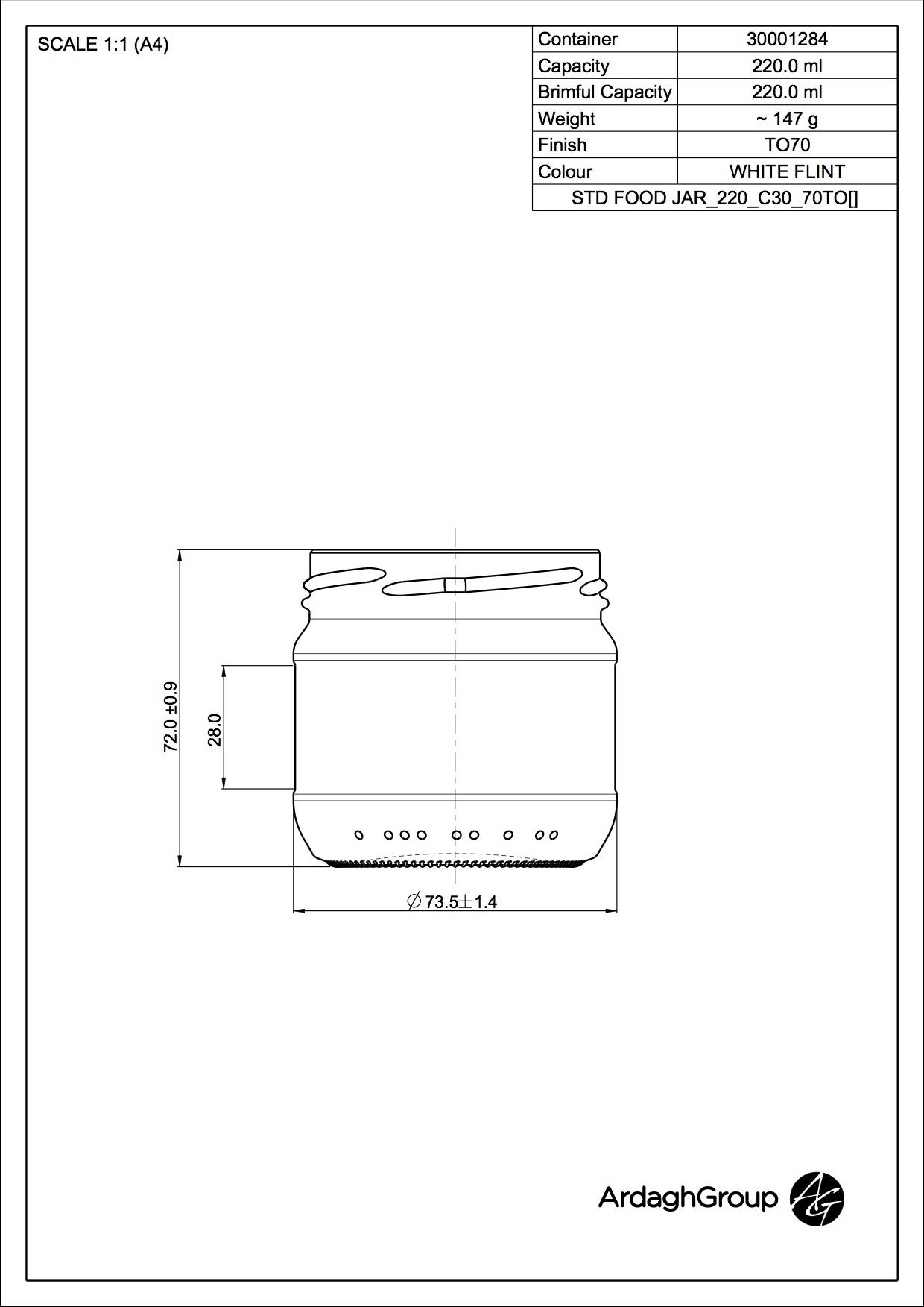 220ml flint glass food jar