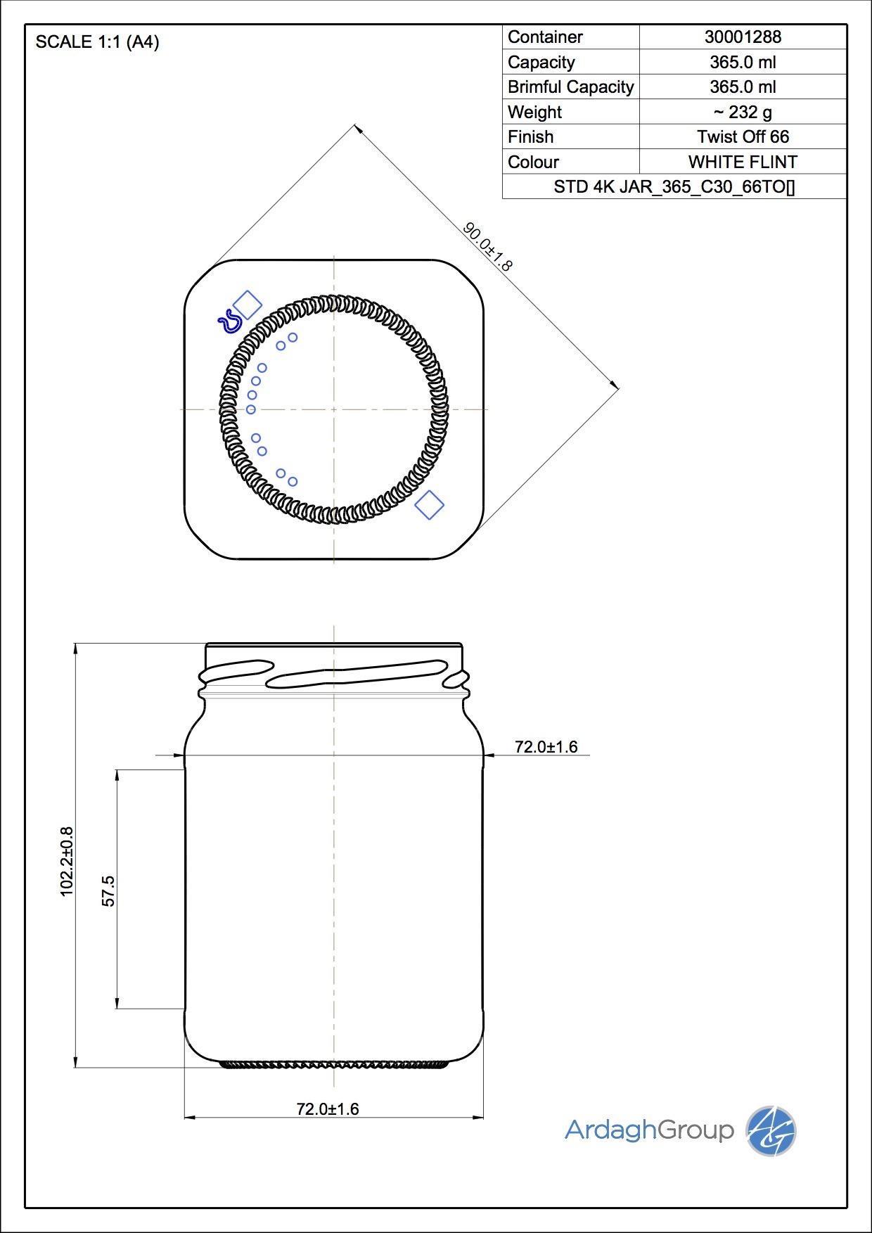 365ml flint glass 4K food jar