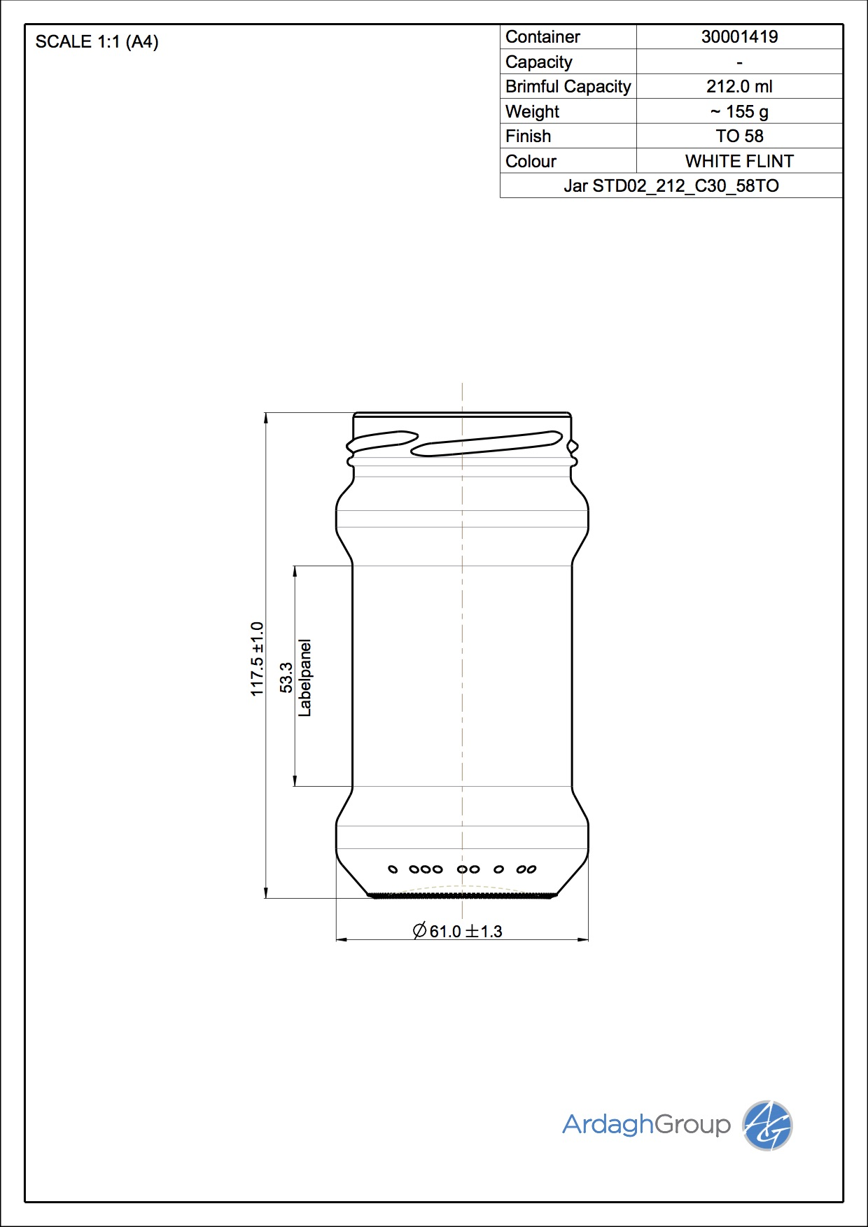 212ml flint glass food jar
