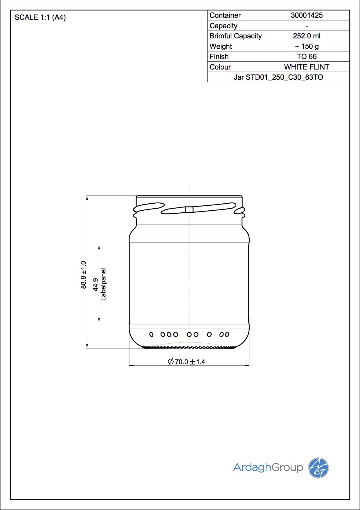 250ml flint glass food jar