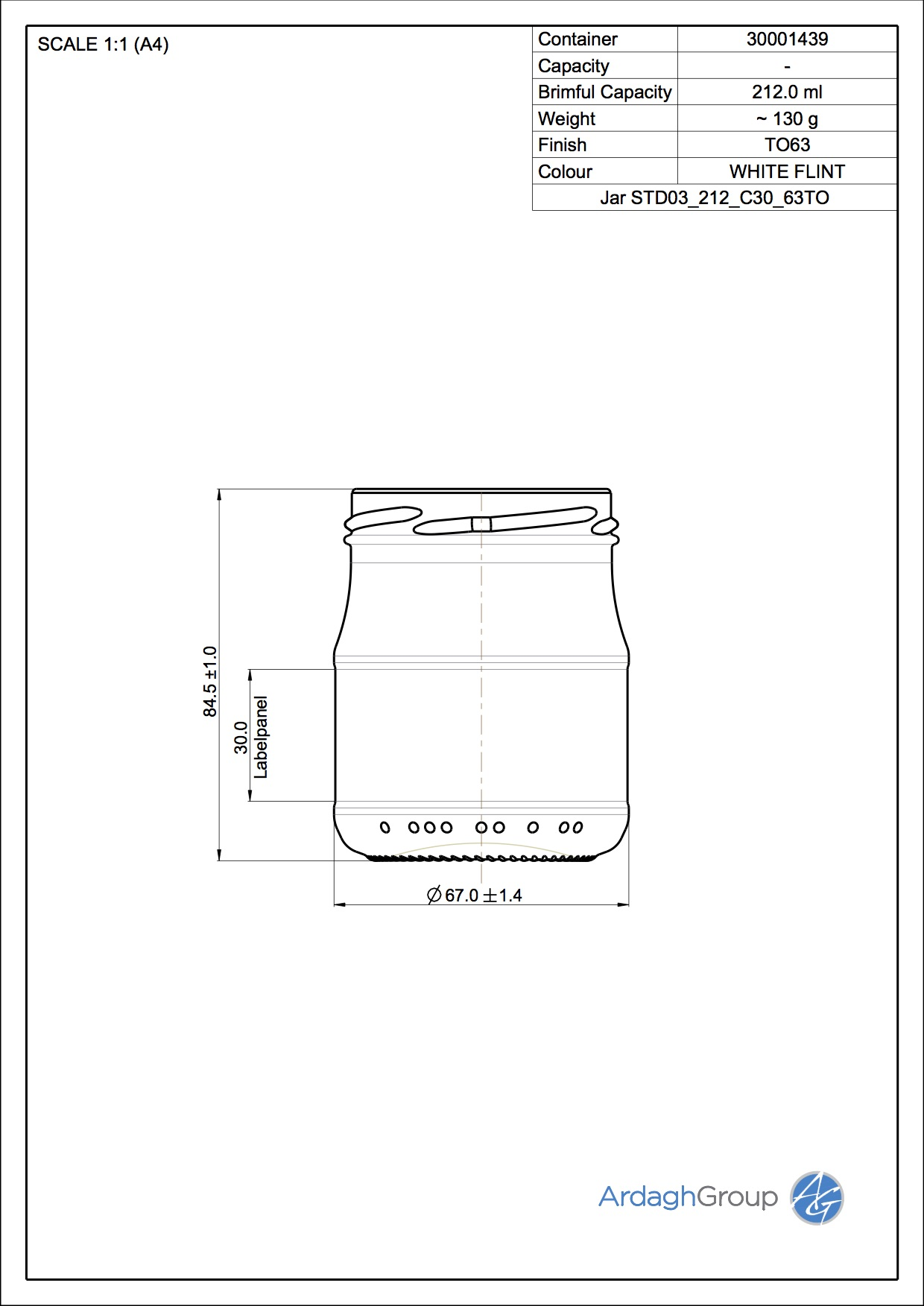Jar STD03 212 C30 63TO