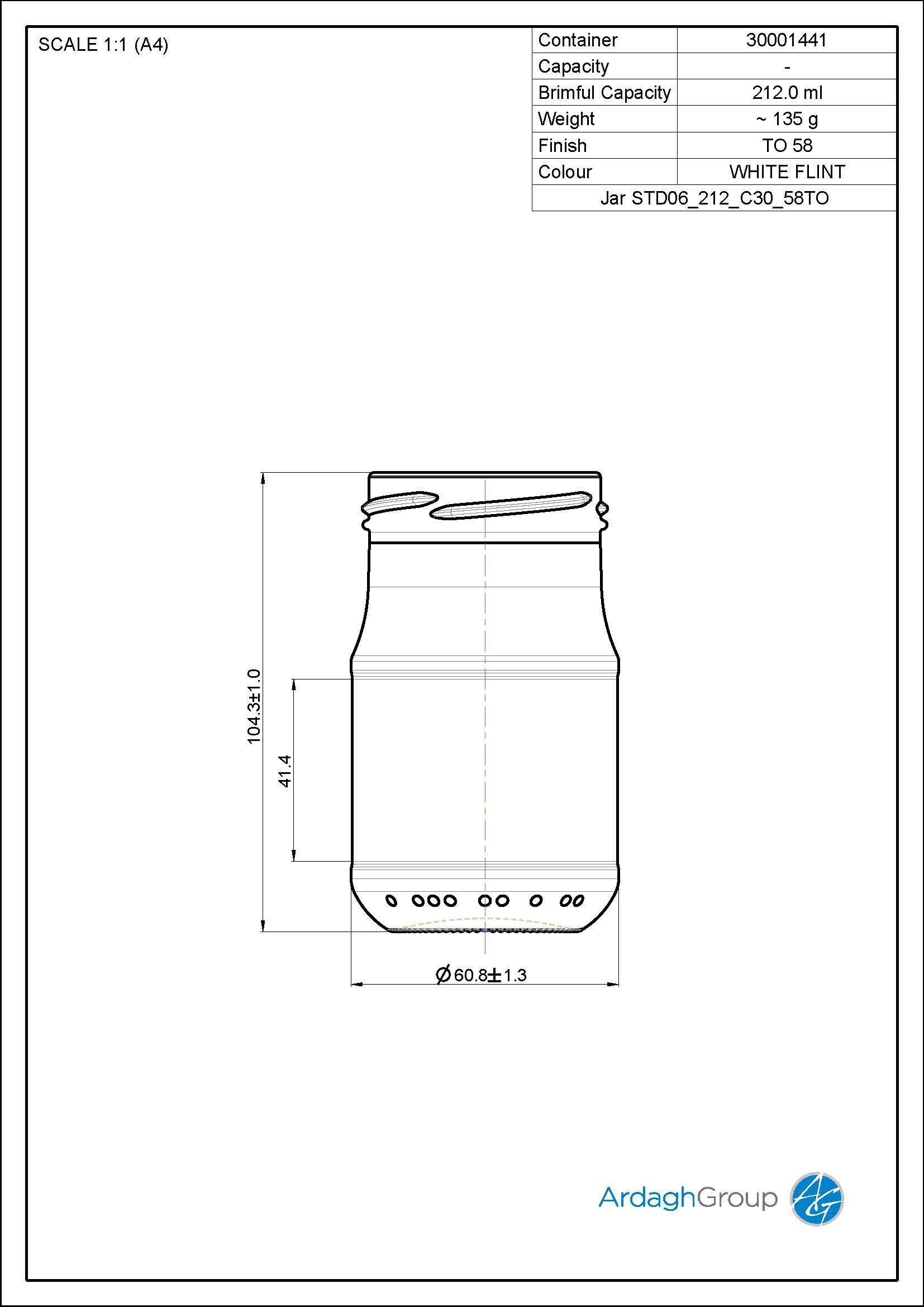 Jar STD06 212 C30 58TO