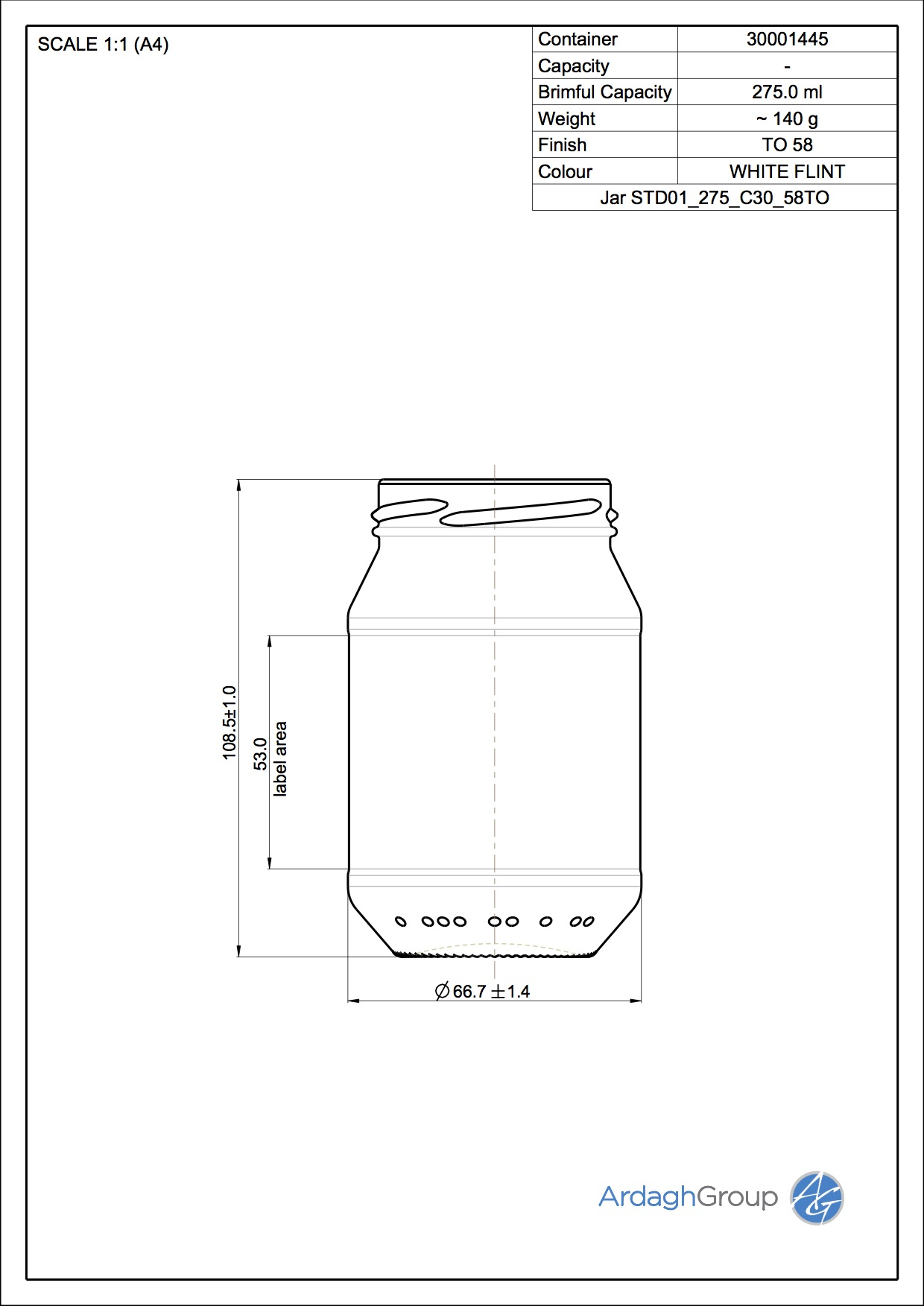 Jar STD01 275 C30 58TO