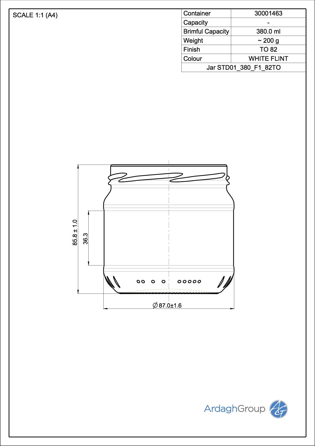 380ml flint glass food jar