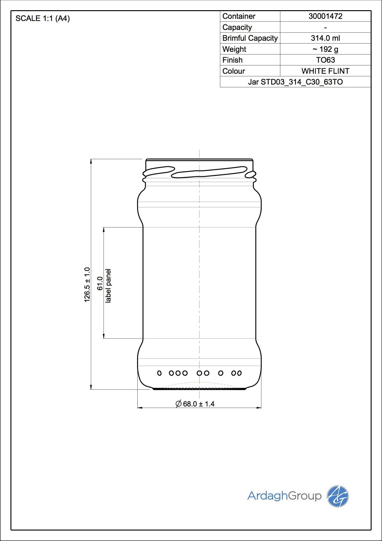 Jar STD03 314 C30 63TO