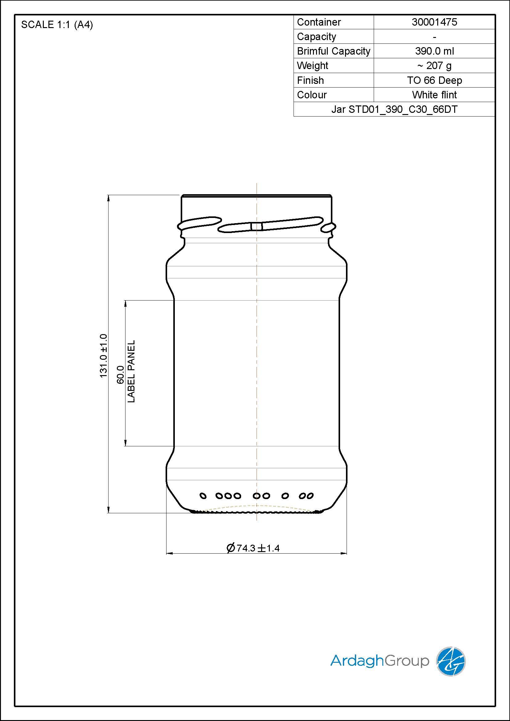 Jar STD01 390 C30 66DT