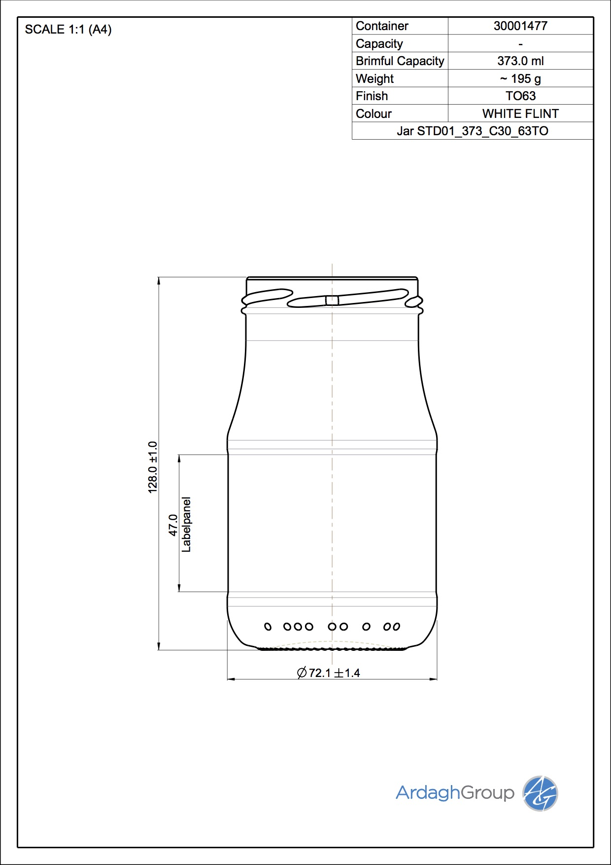 Jar STD01 373 C30 63TO