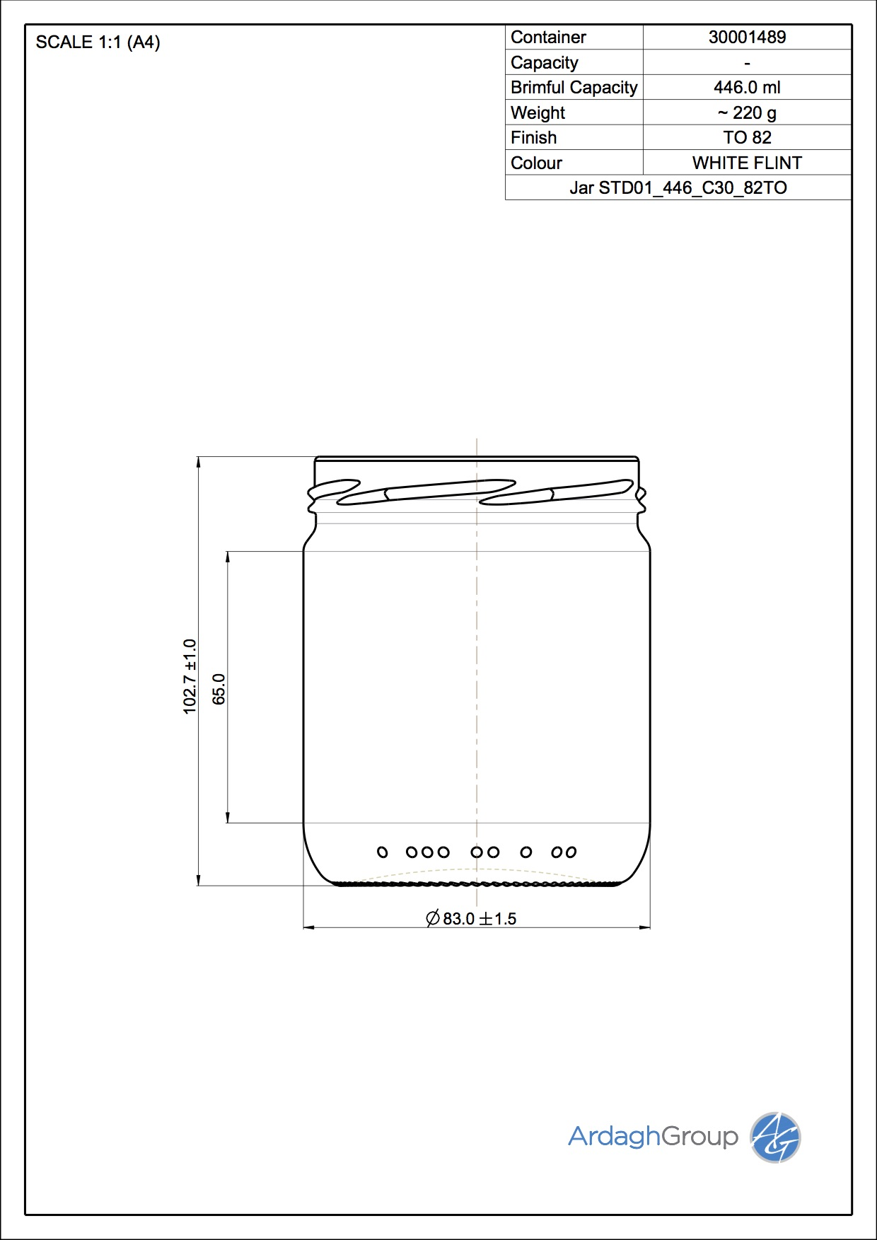 Jar STD01 446 C30 82TO