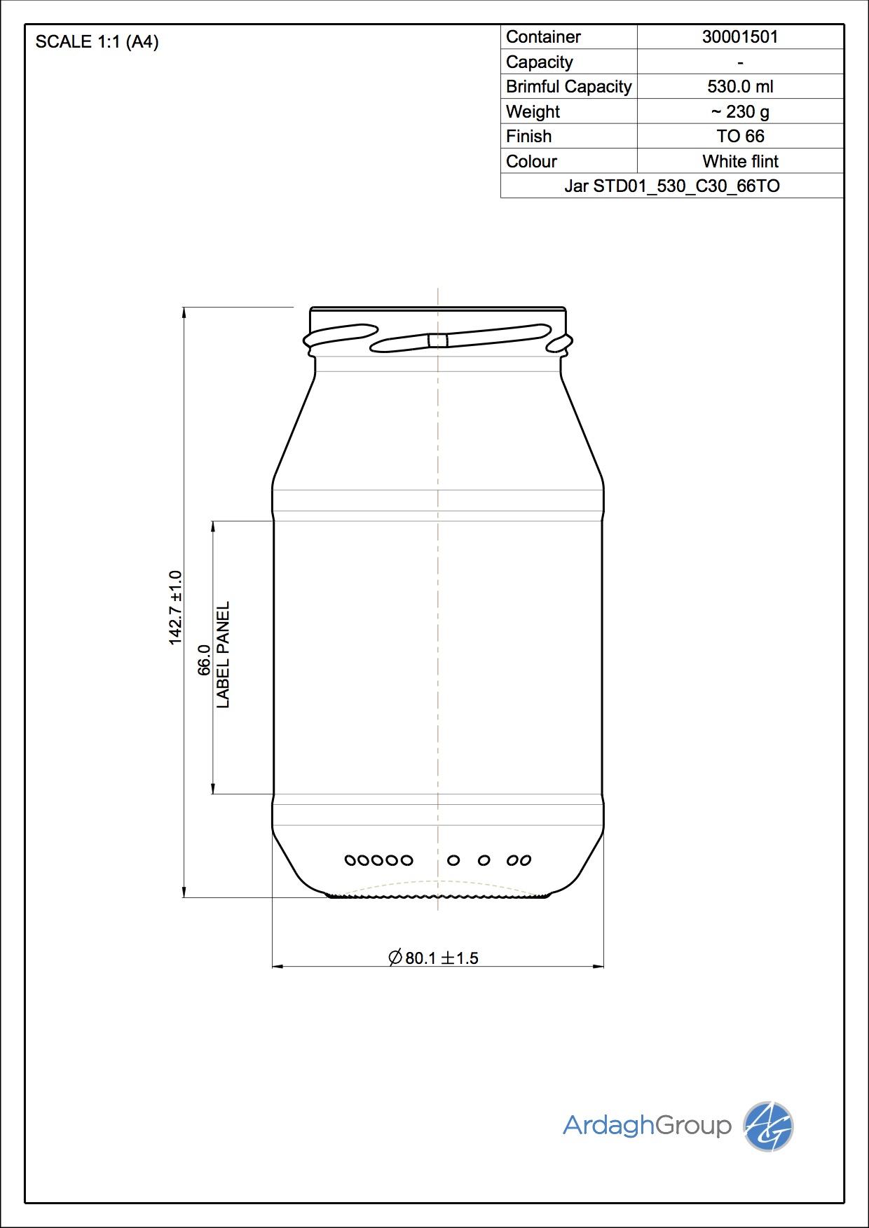 Jar STD01 530 C30 66TO