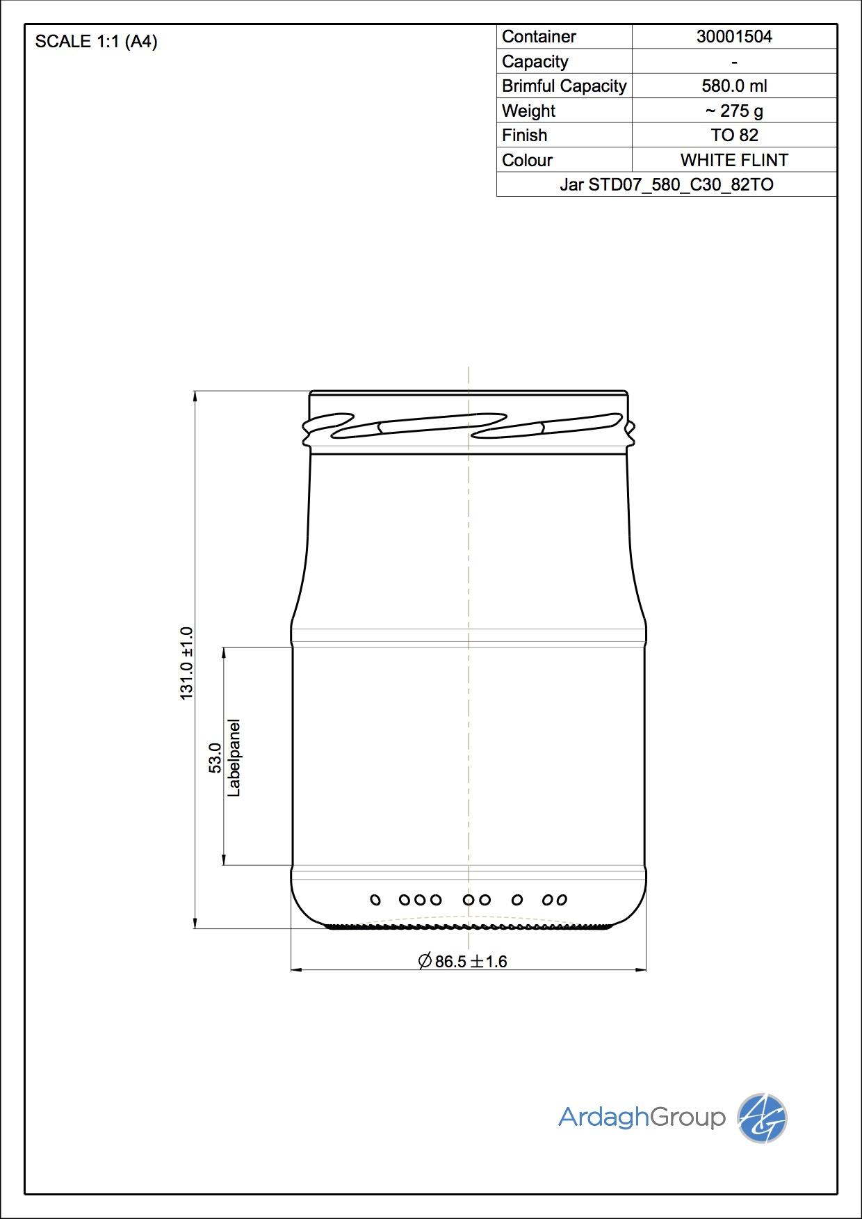 Jar STD07 580 C30 82TO