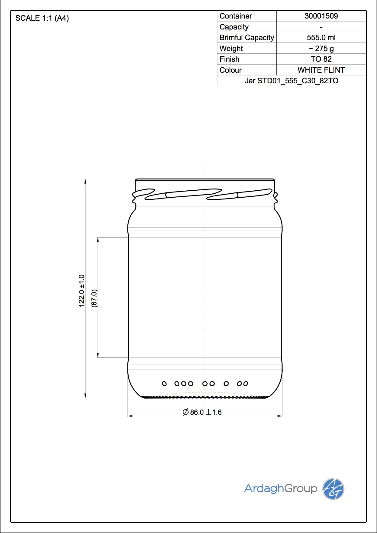 Jar STD01 555 C30 82TO