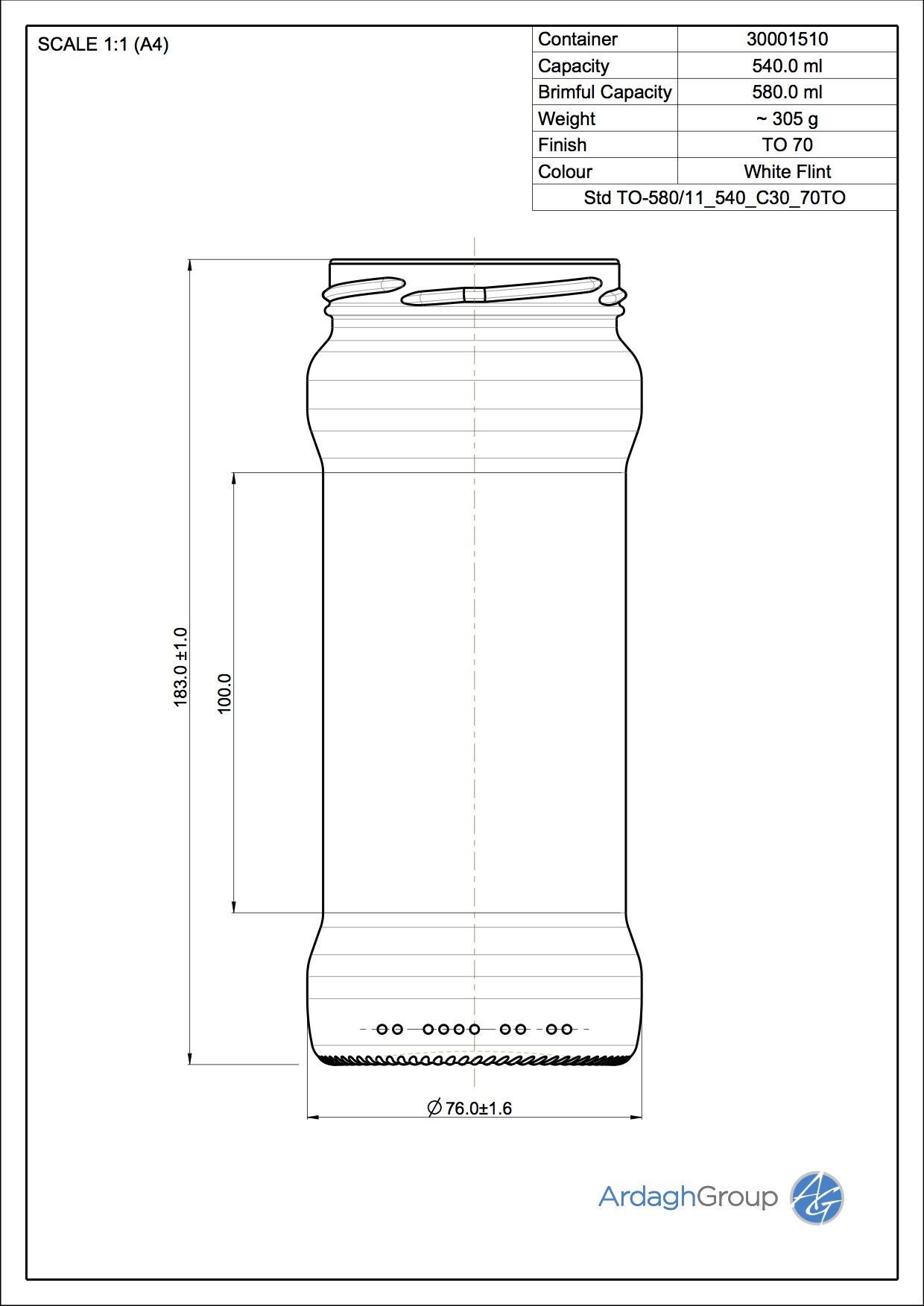 Jar STD05 580 C30 70TO