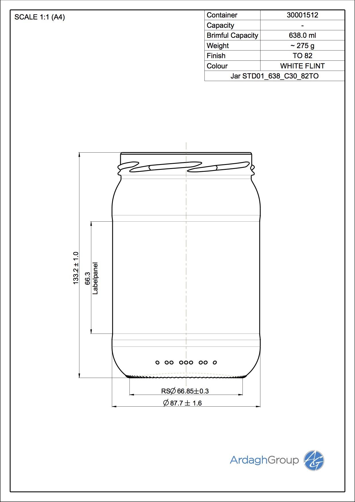 Jar STD01 638 C30 82TO