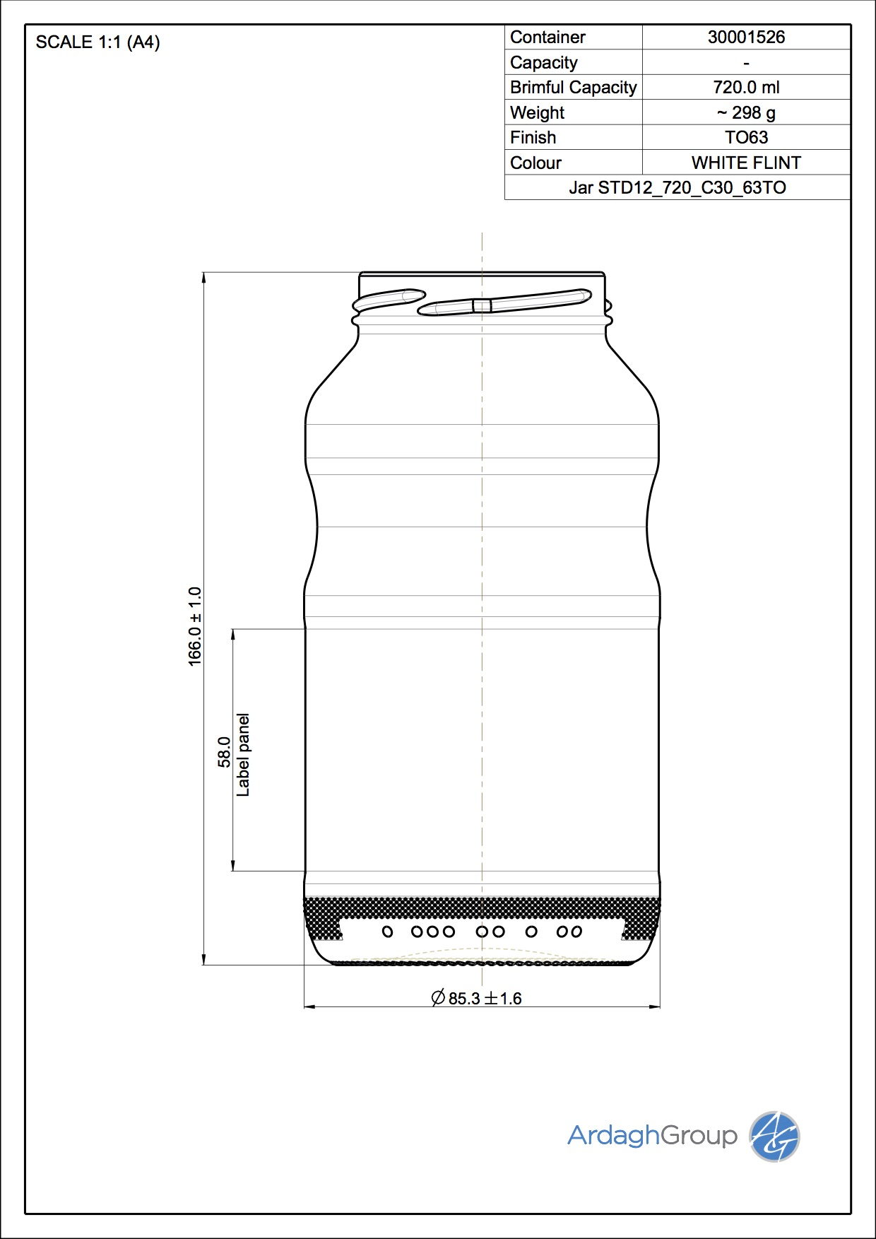 Jar STD12 720 C30 63TO