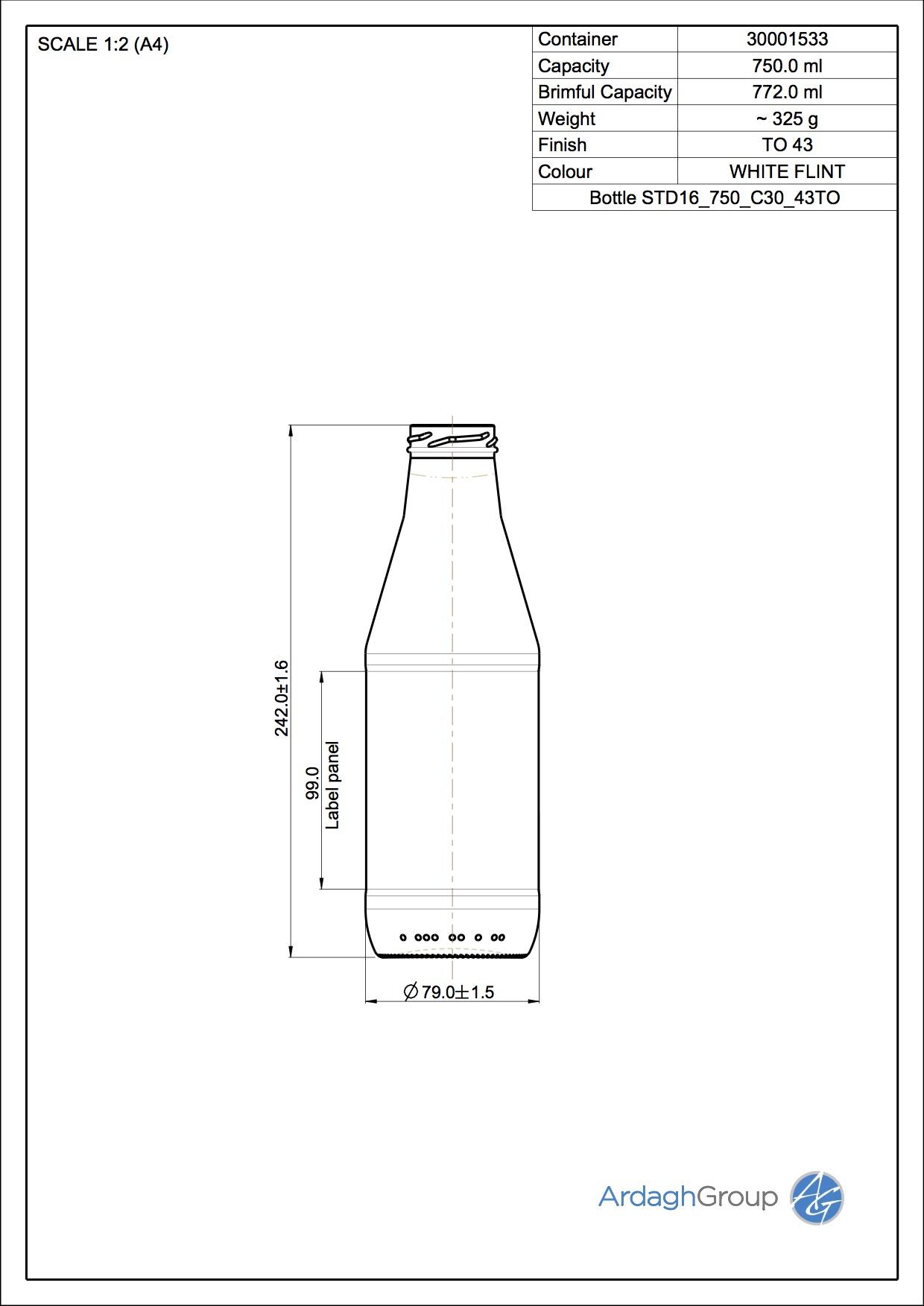 Bottle STD16 750 C30 43TO
