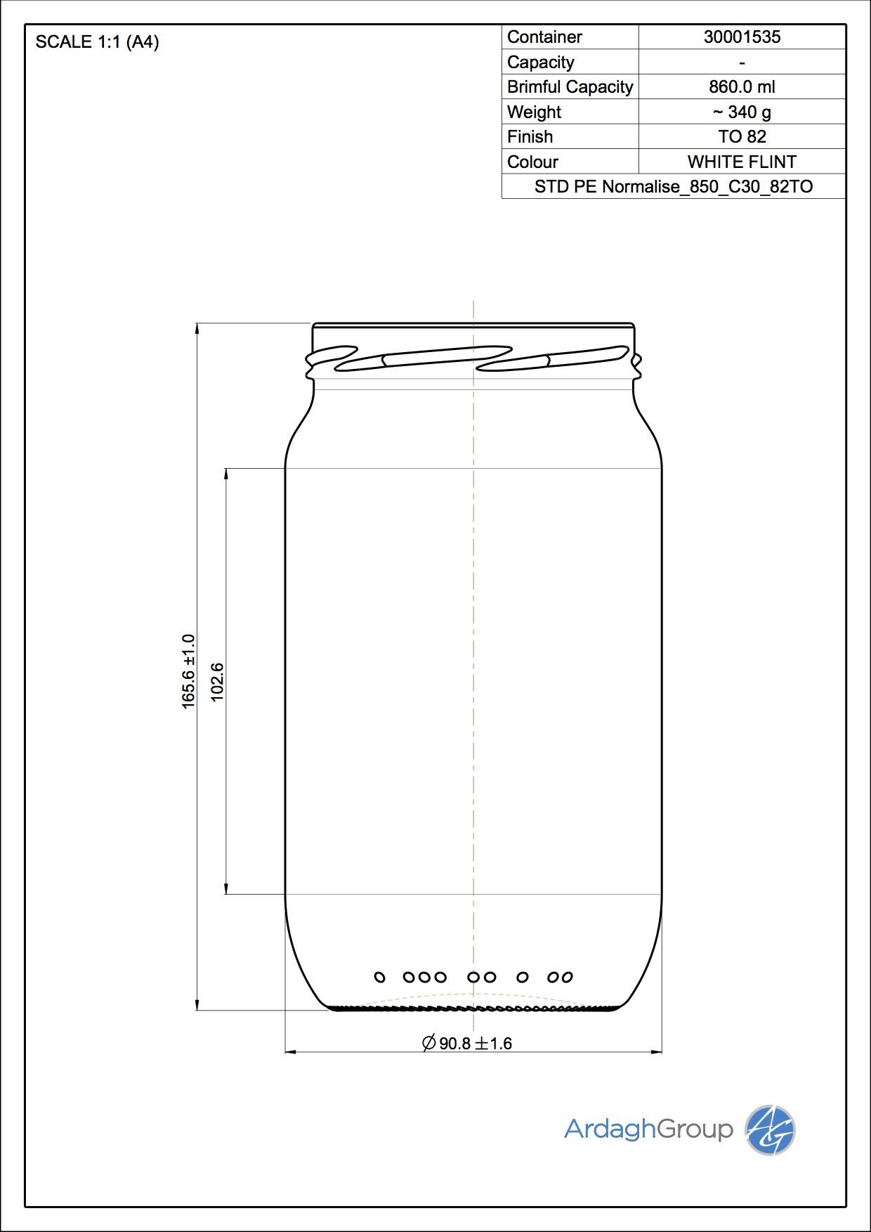 850ml Flint Glass Normalise Food Jar 30001535