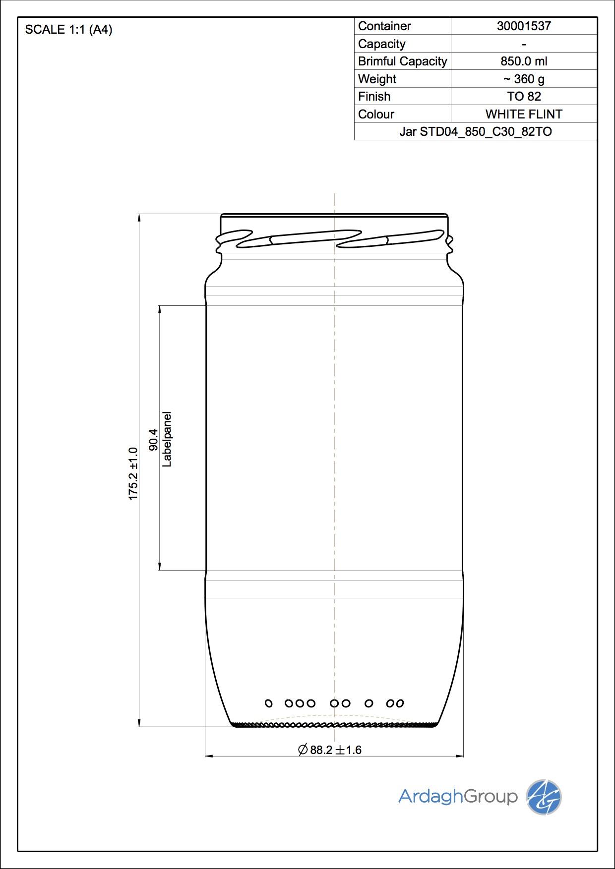 850ml flint glass food jar