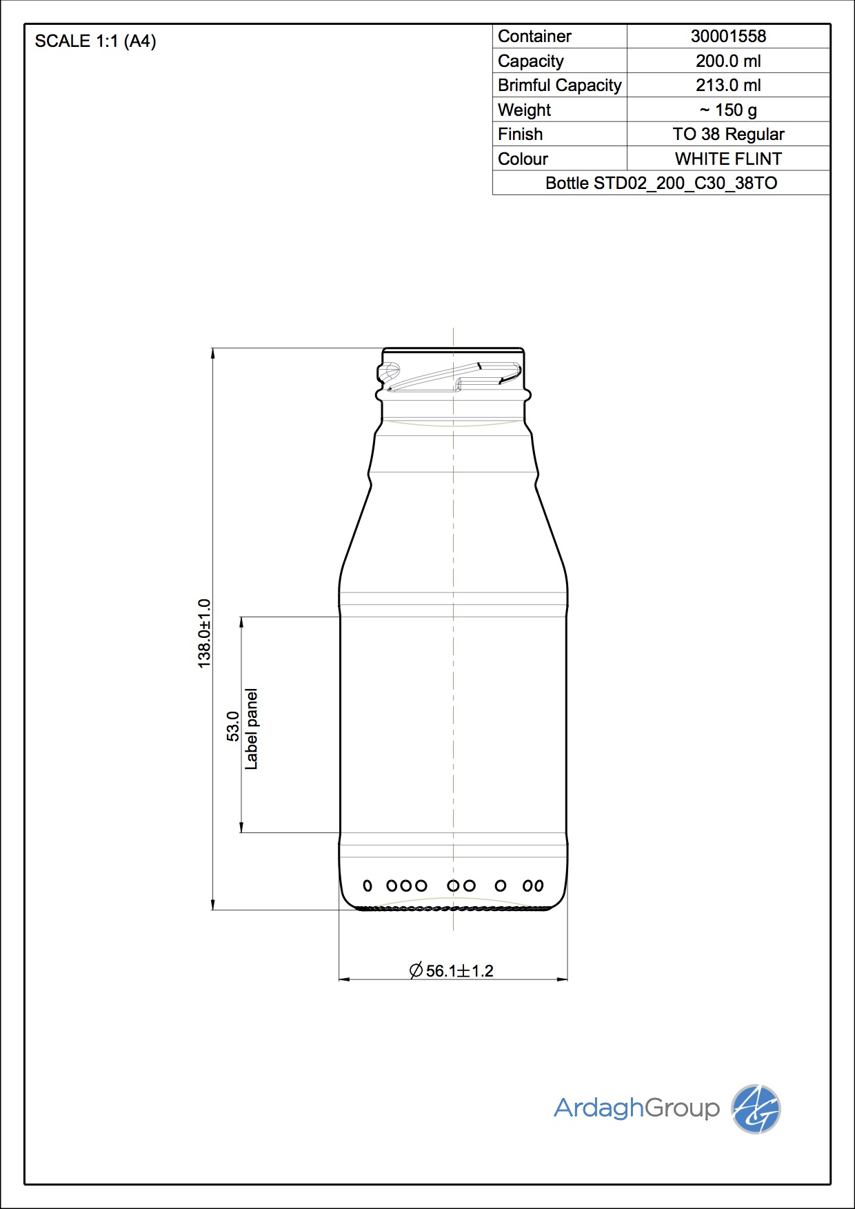 Bottle STD02 200 C30 38TO
