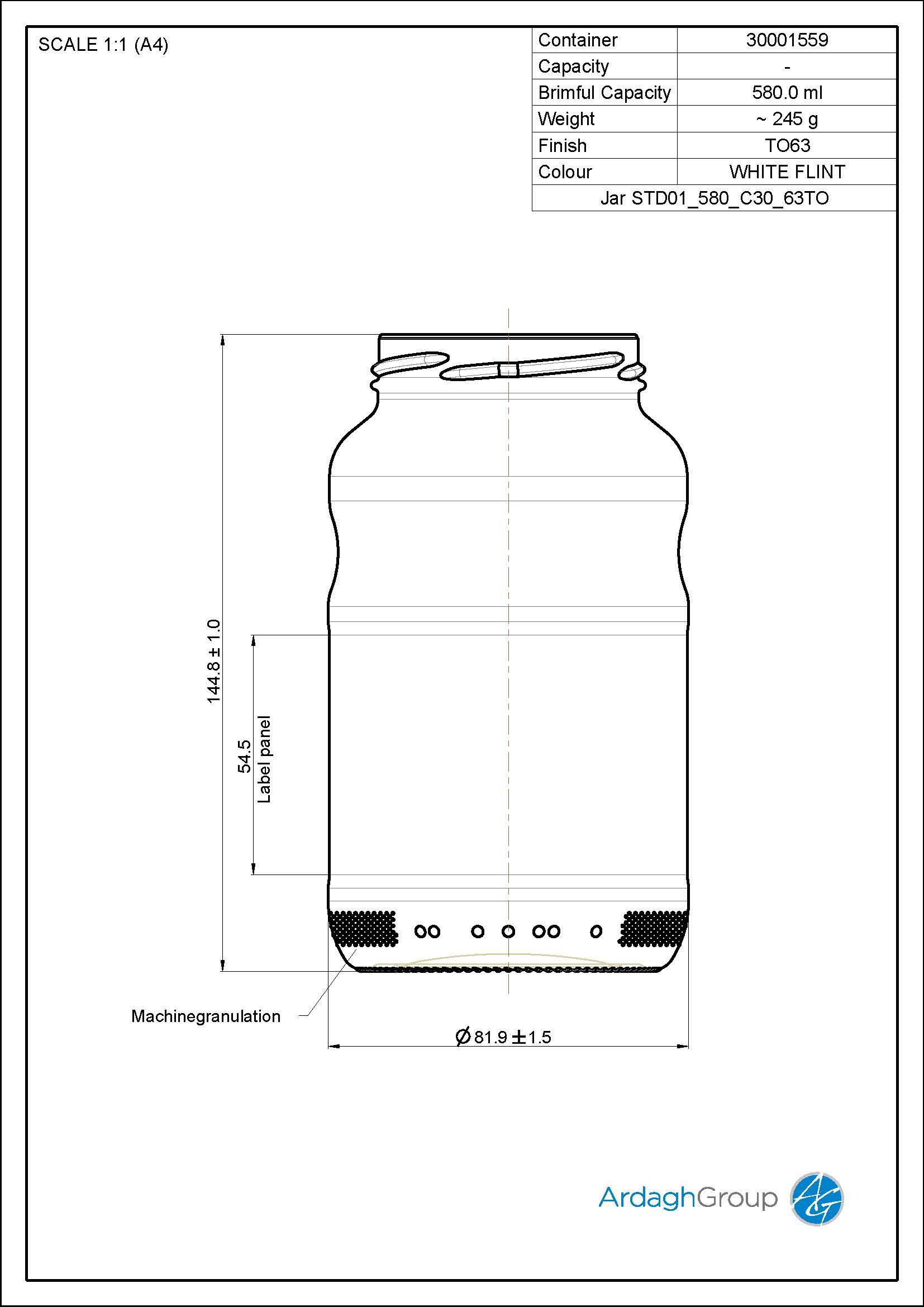 Jar STD01 580 C30 63TO