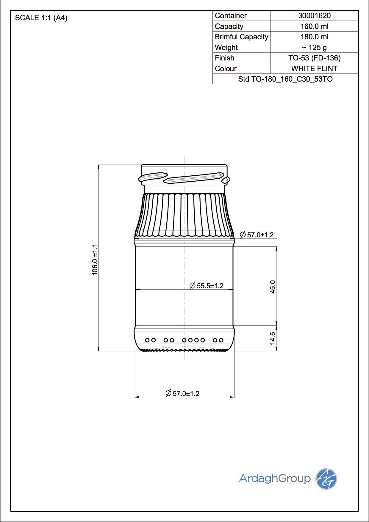 160ml flint glass food jar