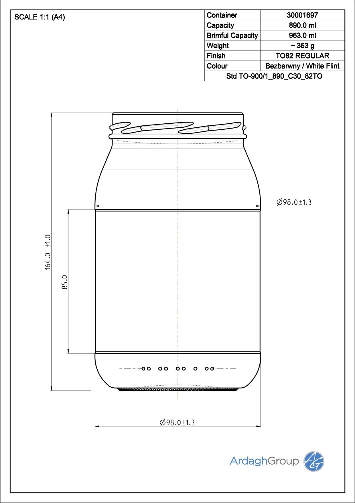 900ml flint glass food jar