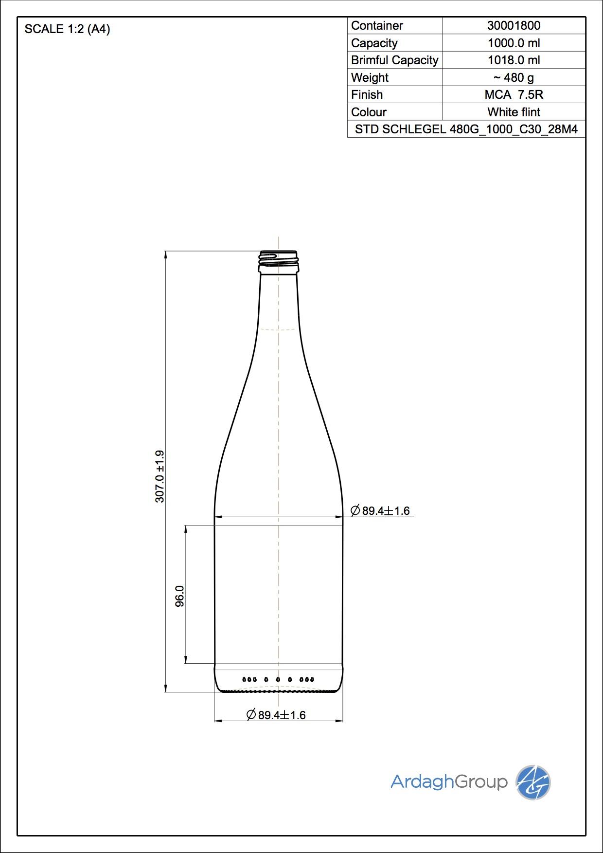 1000ml flint glass Schlegel oneway wine bottle