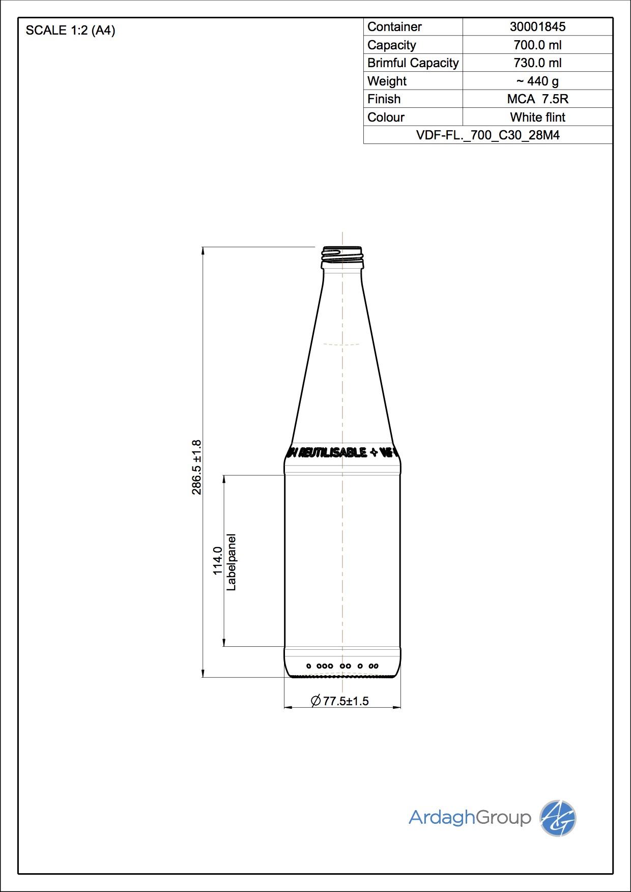 700ml Flint Glass VDF Returnable NAB Bottle 30001845
