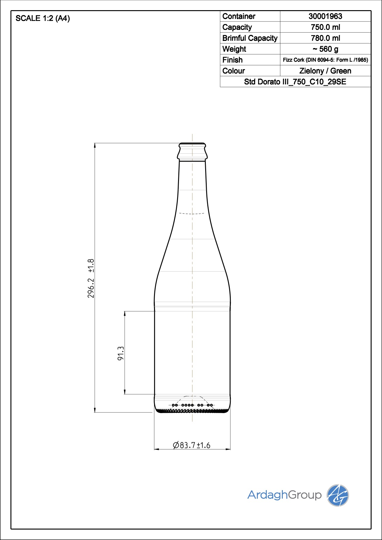 750ml green glass Dorato oneway wine bottle