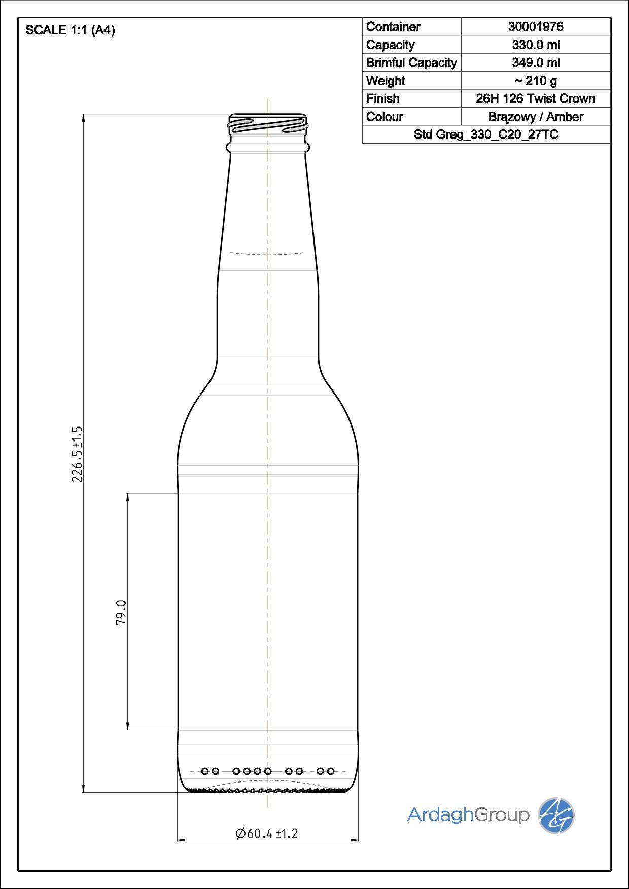 330ml Amber Glass Greg Beer Bottle 30001976