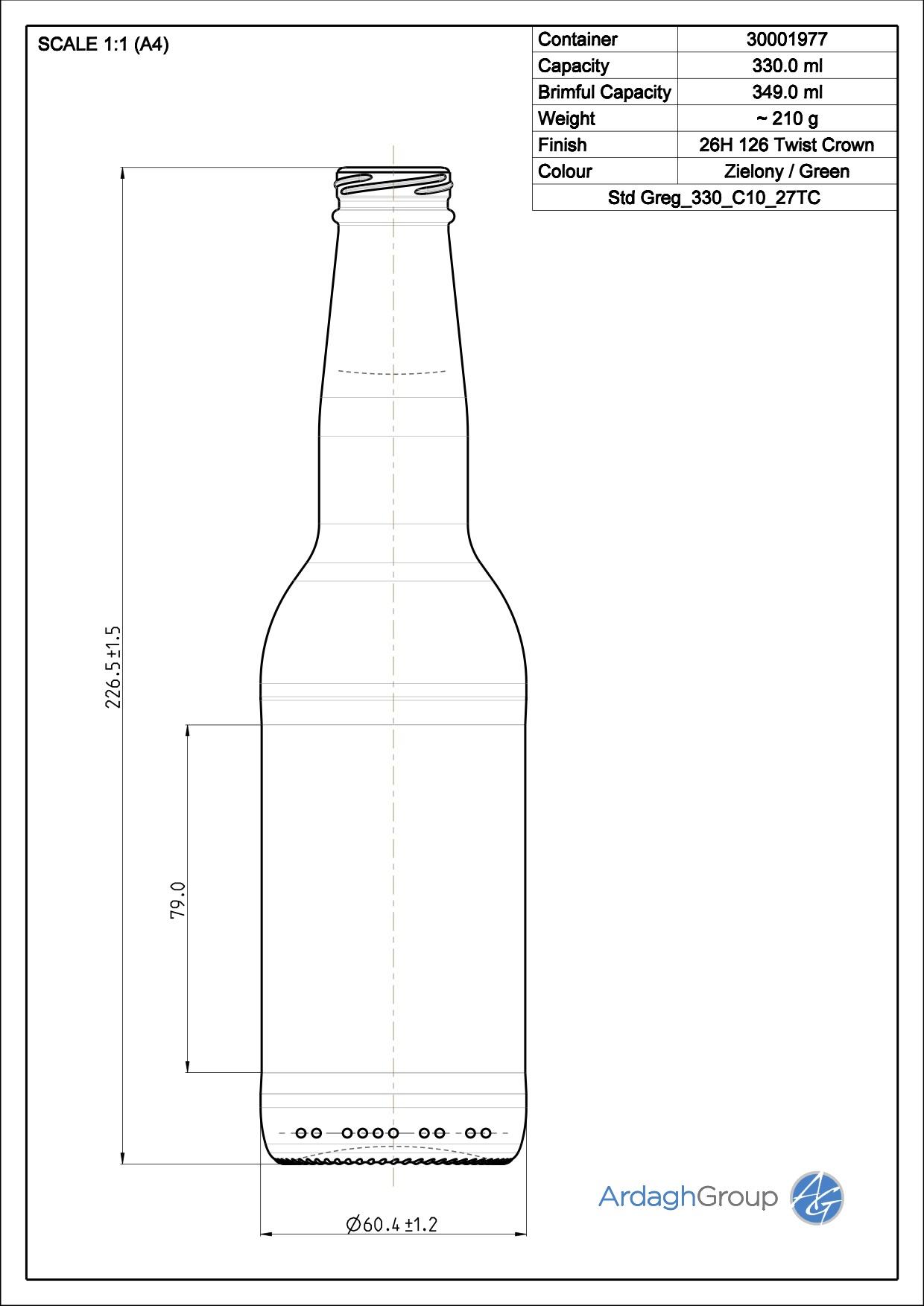 330ml green glass Greg oneway beer bottle