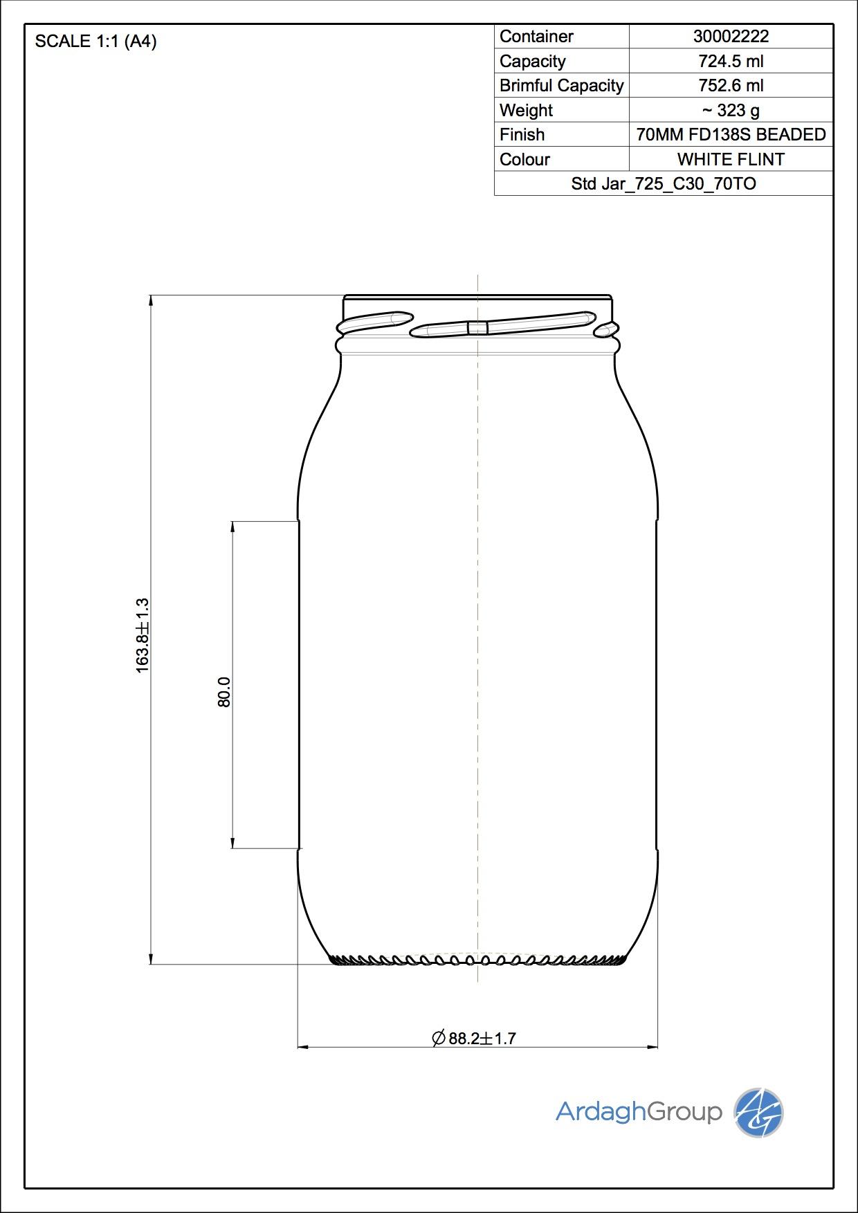 725ml Flint Glass Food Jar 30002222