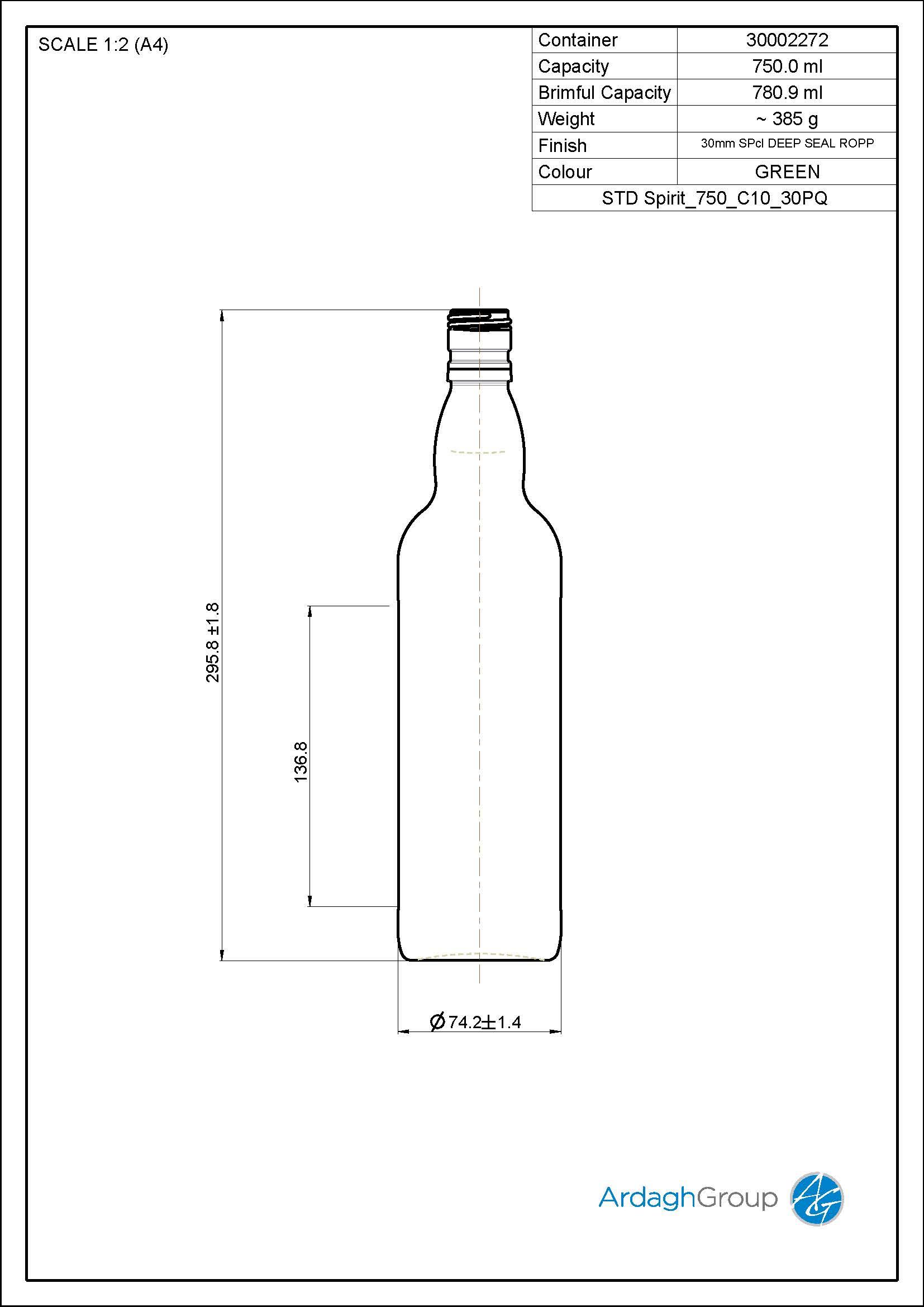 750ml green glass spirit bottle