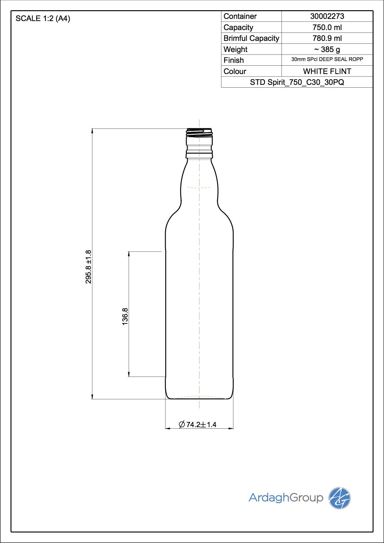 750ml Flint Glass Spirit Food 30002273