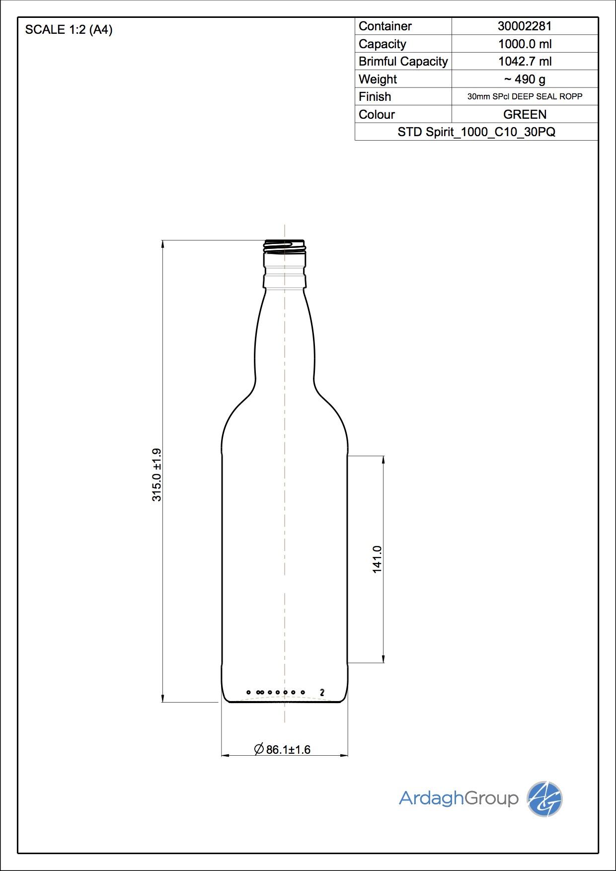 1000ml Green Glass Spirit Bottle 30002281