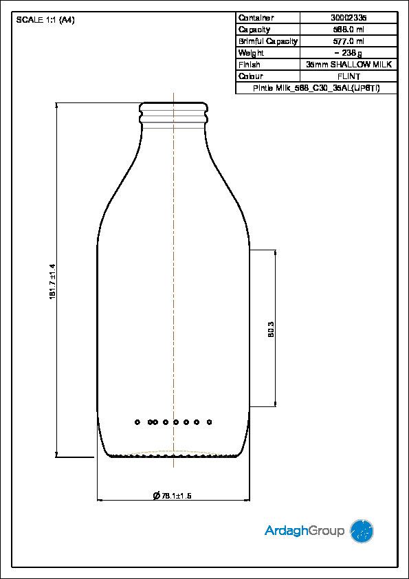 568ml flint glass Milk returnable food bottle