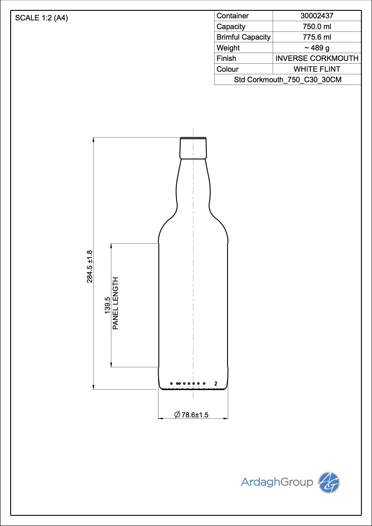 750ml flint glass Corkmouth spirit bottle