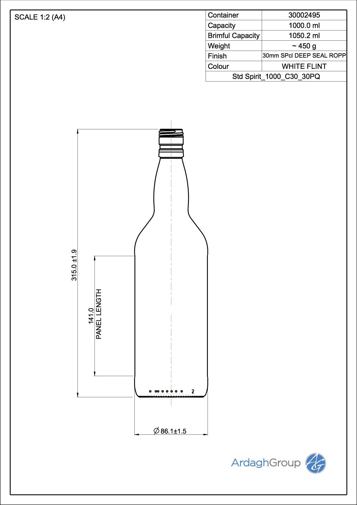 1000ml Flint Glass Spirit Bottle 30002495