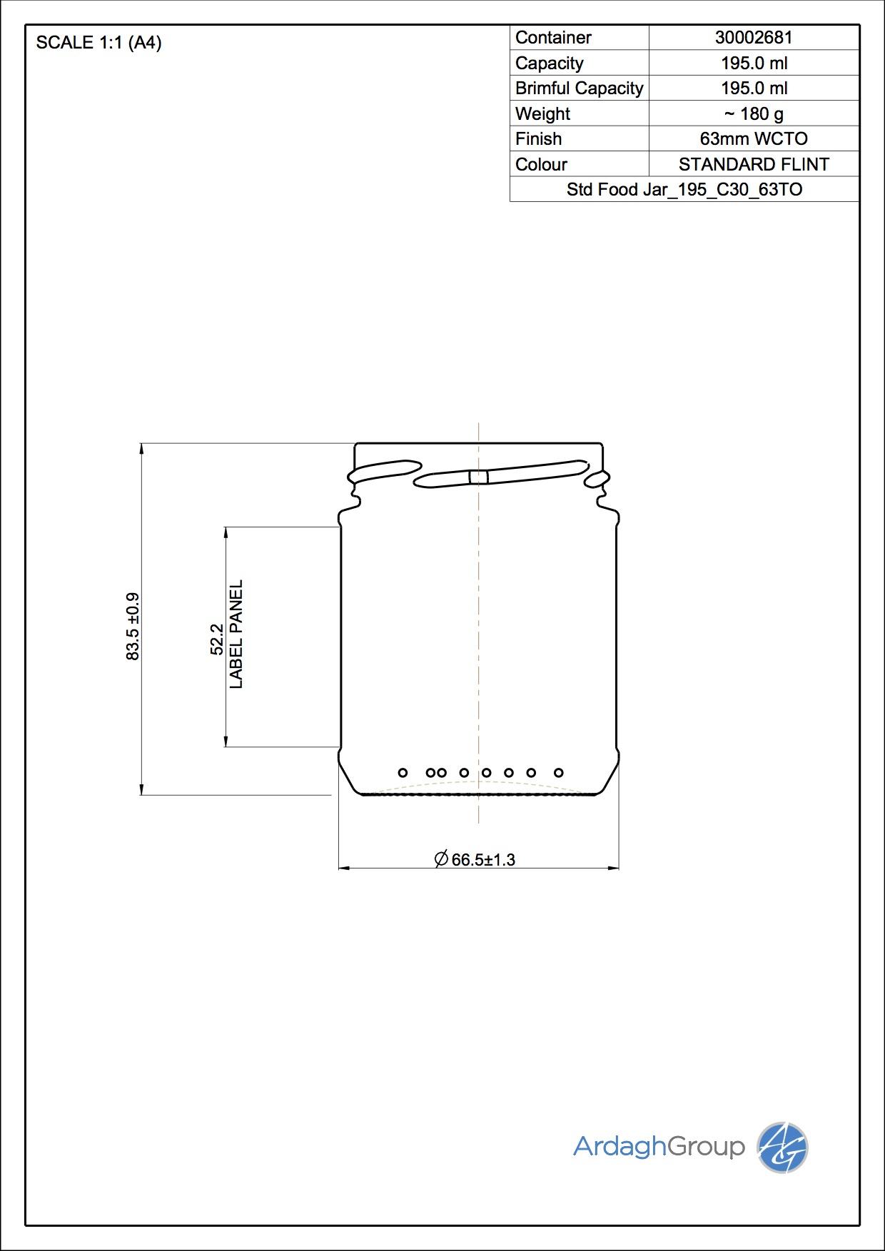 Std Food Jar 195 C30 63TO