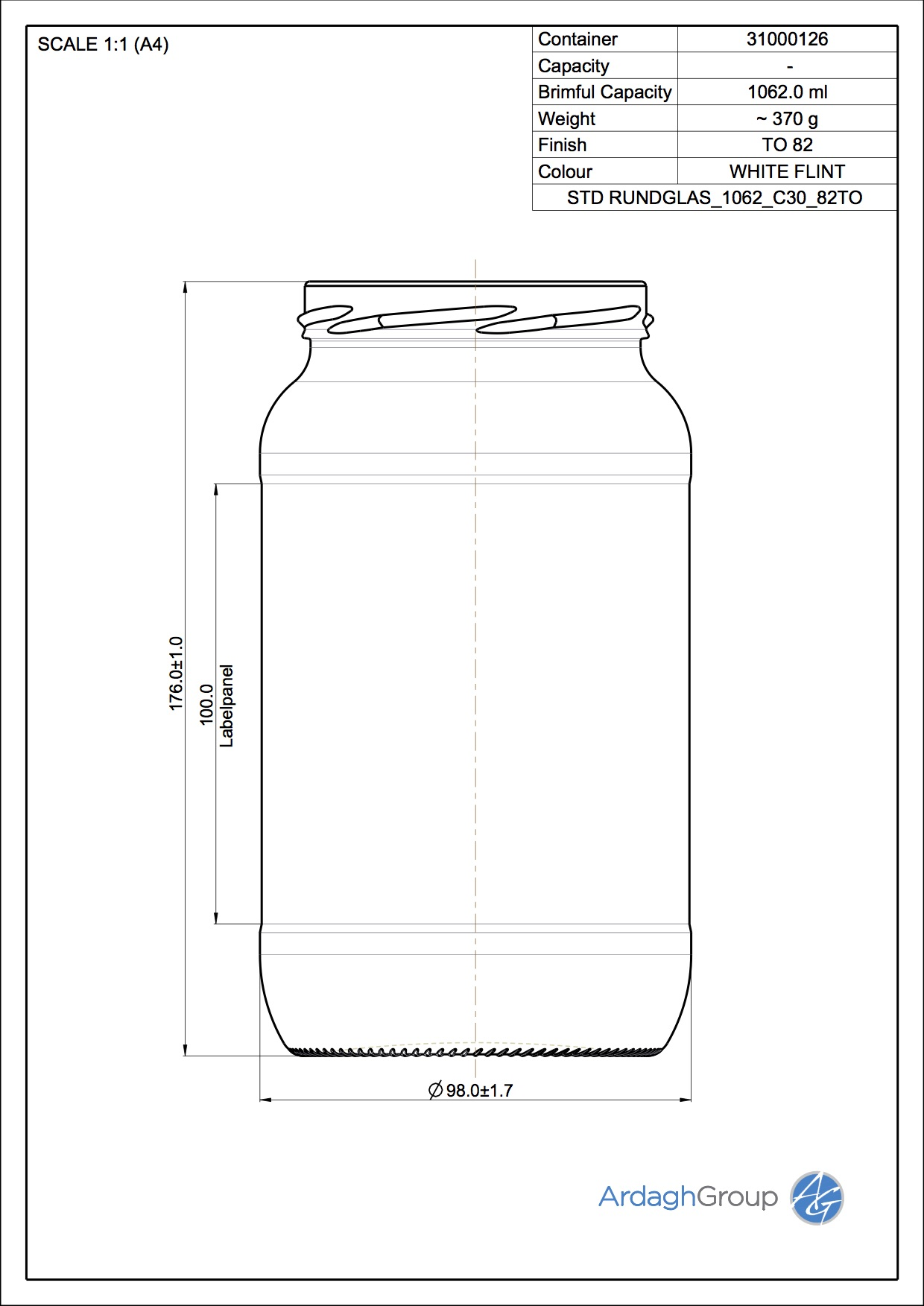 1062 ml Rundglas To 82