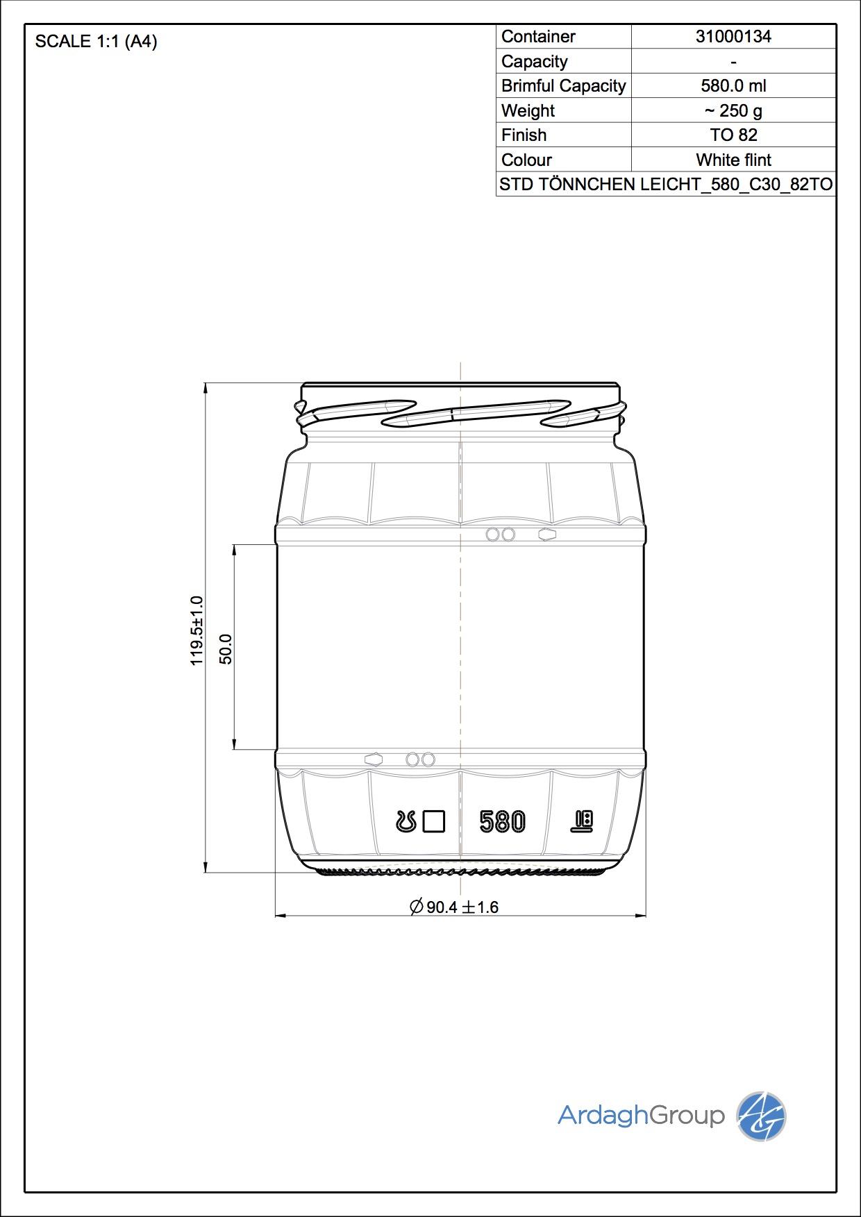 580ml Verpackungsglsd Tönnchen